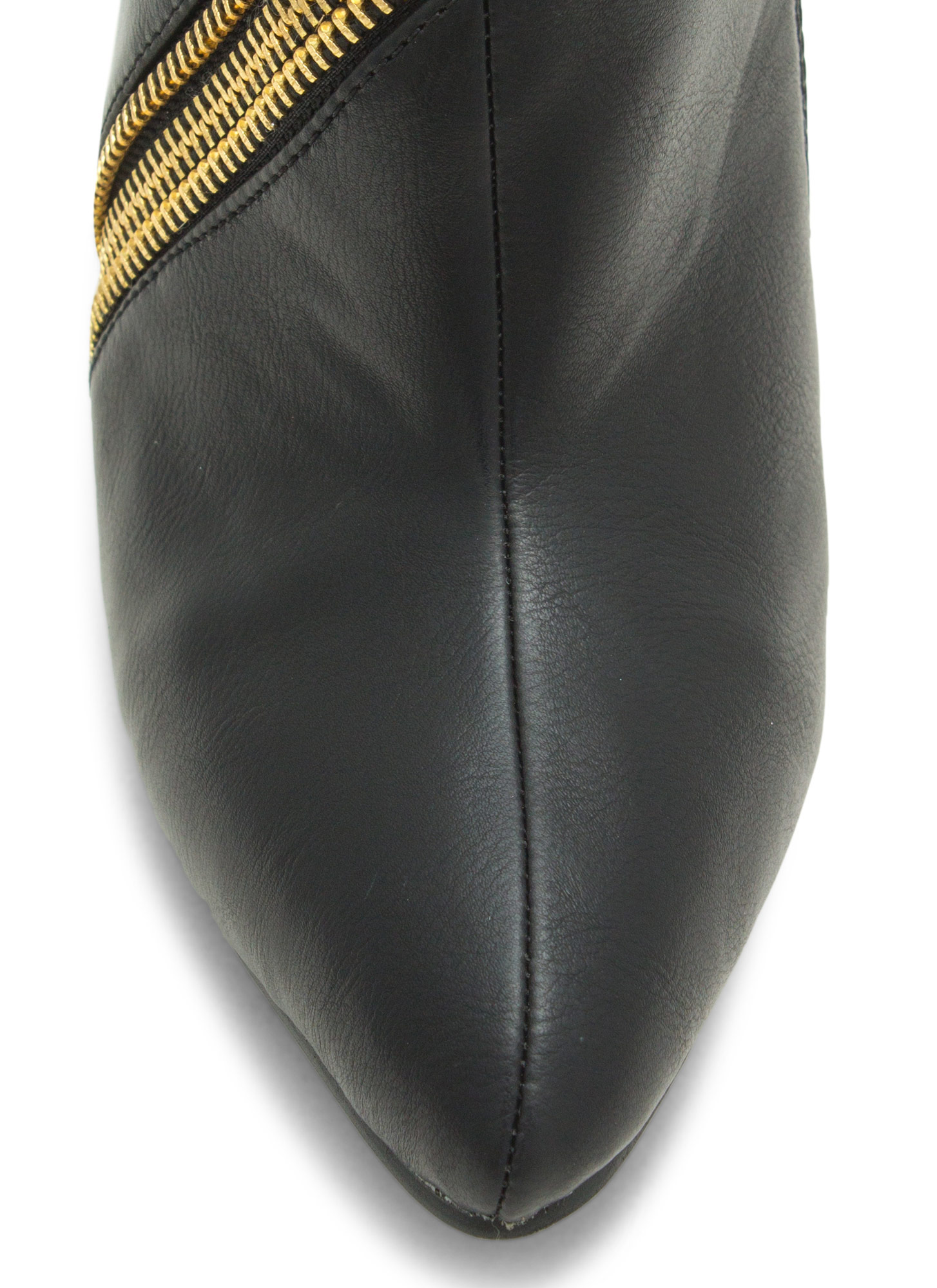 Zip To It Pointy Toe Booties BLACK