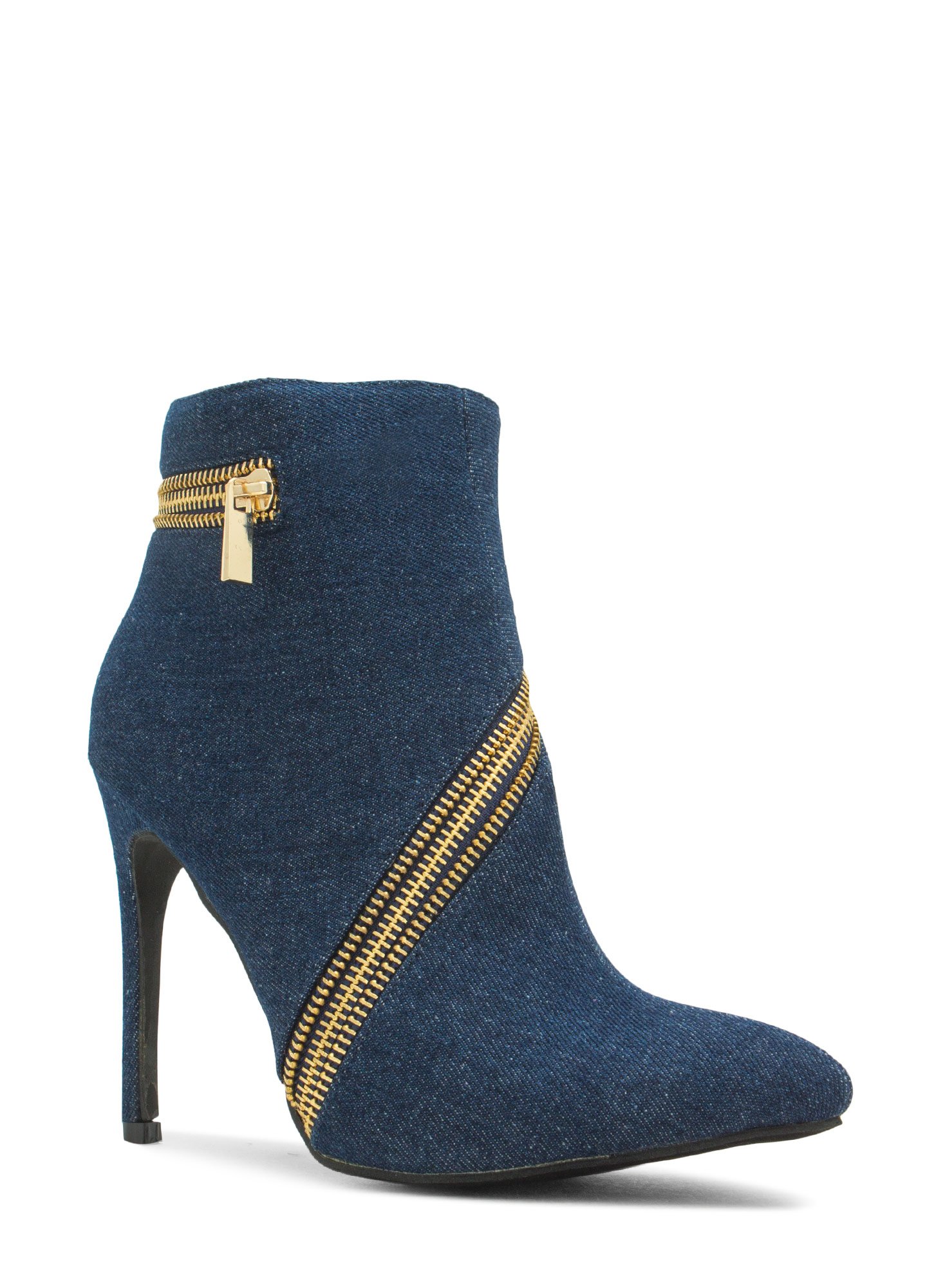 Zip To It Pointy Toe Booties DENIM