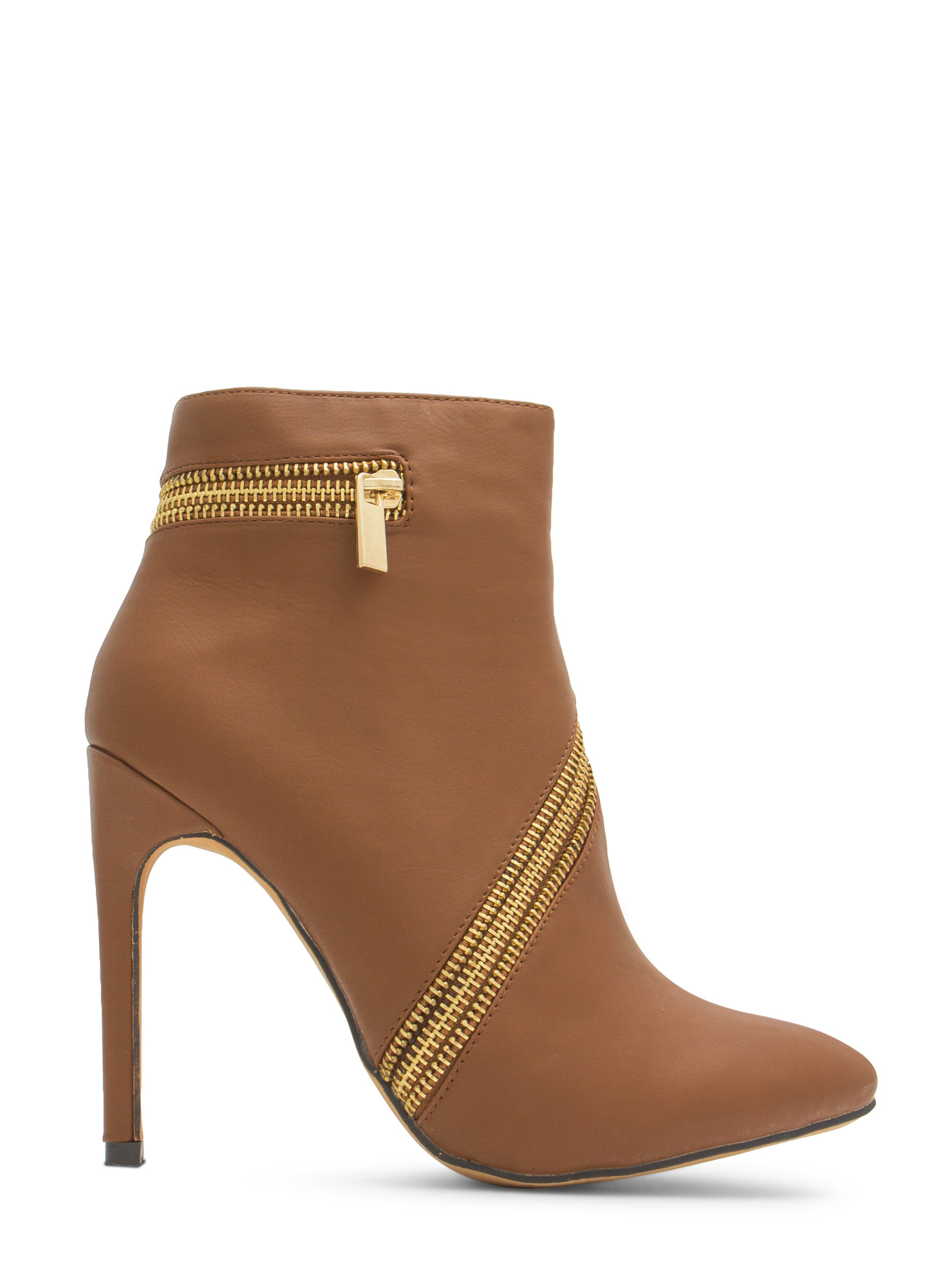 Zip To It Pointy Toe Booties TAN