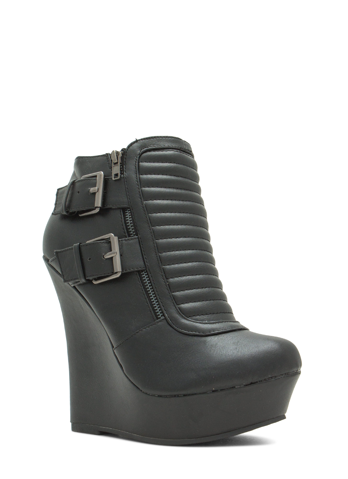 Stitched Moto Buckled Wedge Booties BLACK