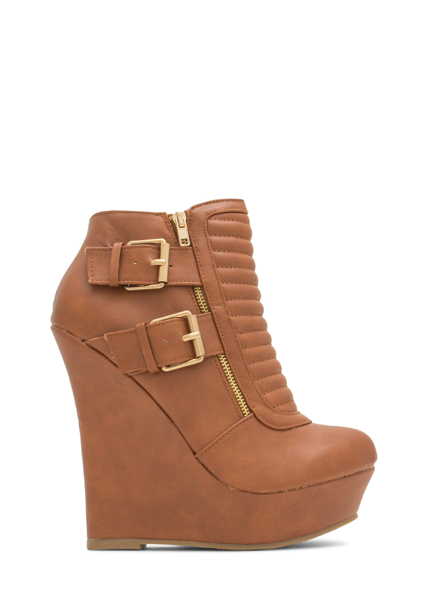 Stitched Moto Buckled Wedge Booties COGNAC