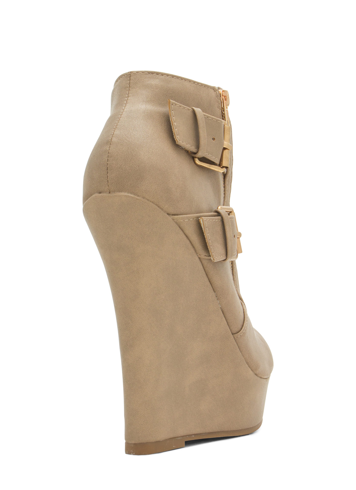 Stitched Moto Buckled Wedge Booties TAUPE