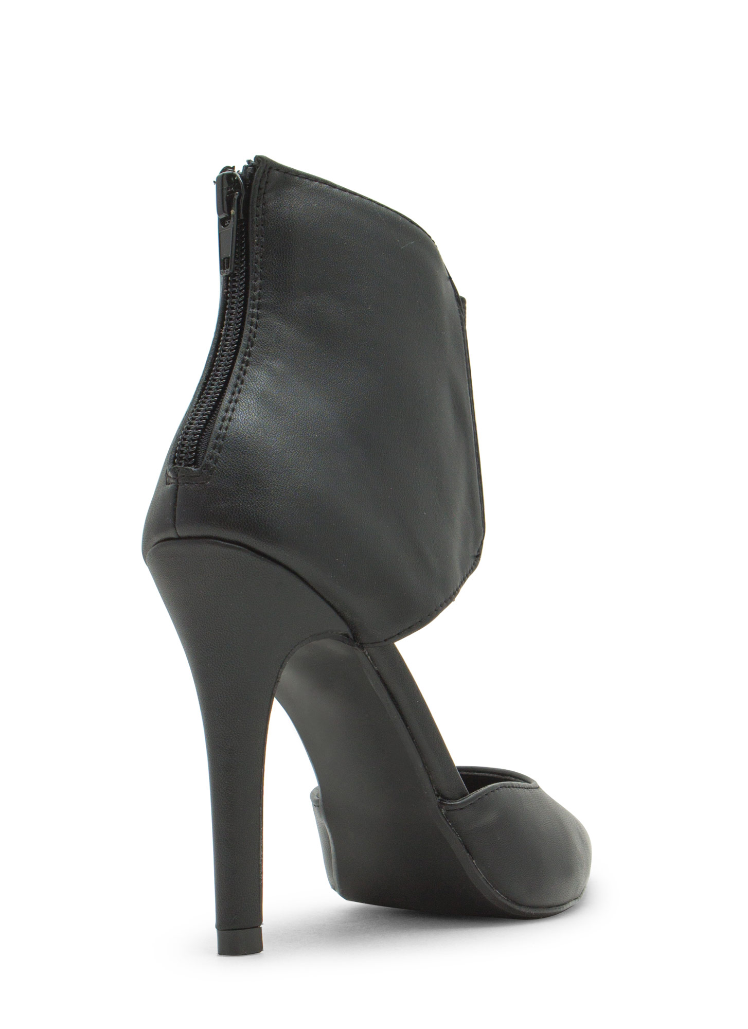 Bootie-licious Pointy Faux Leather Heels BLACK