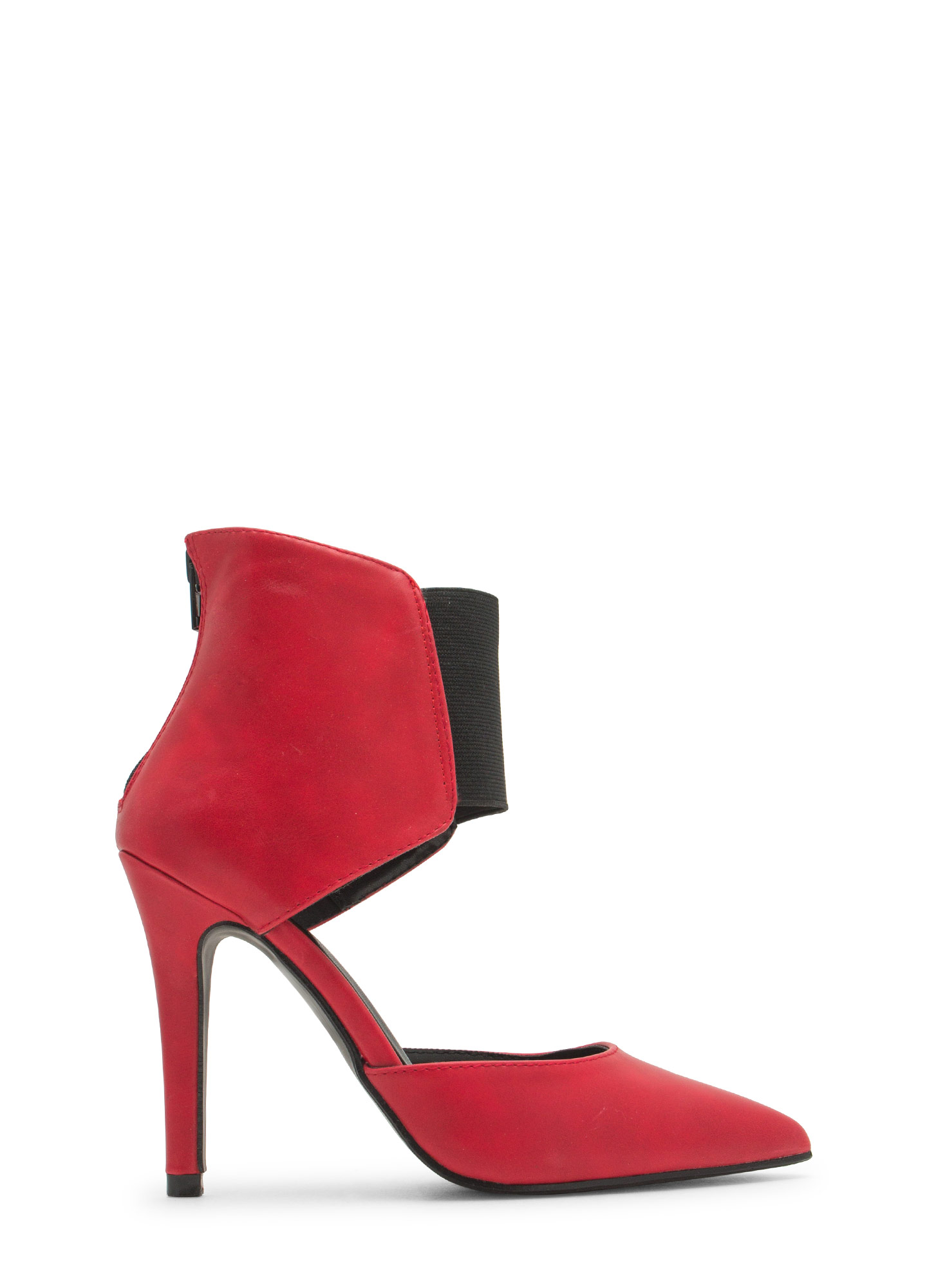 Bootie-licious Pointy Faux Leather Heels RED