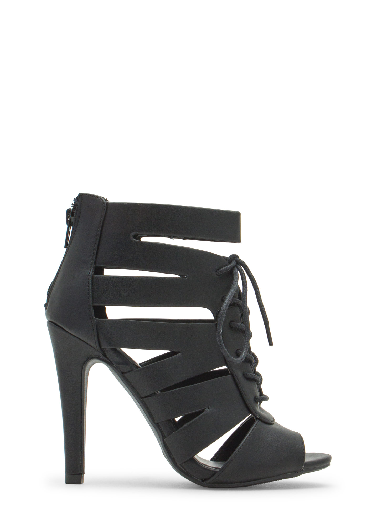Slit Happens Strappy Lace-Up Heels BLACK