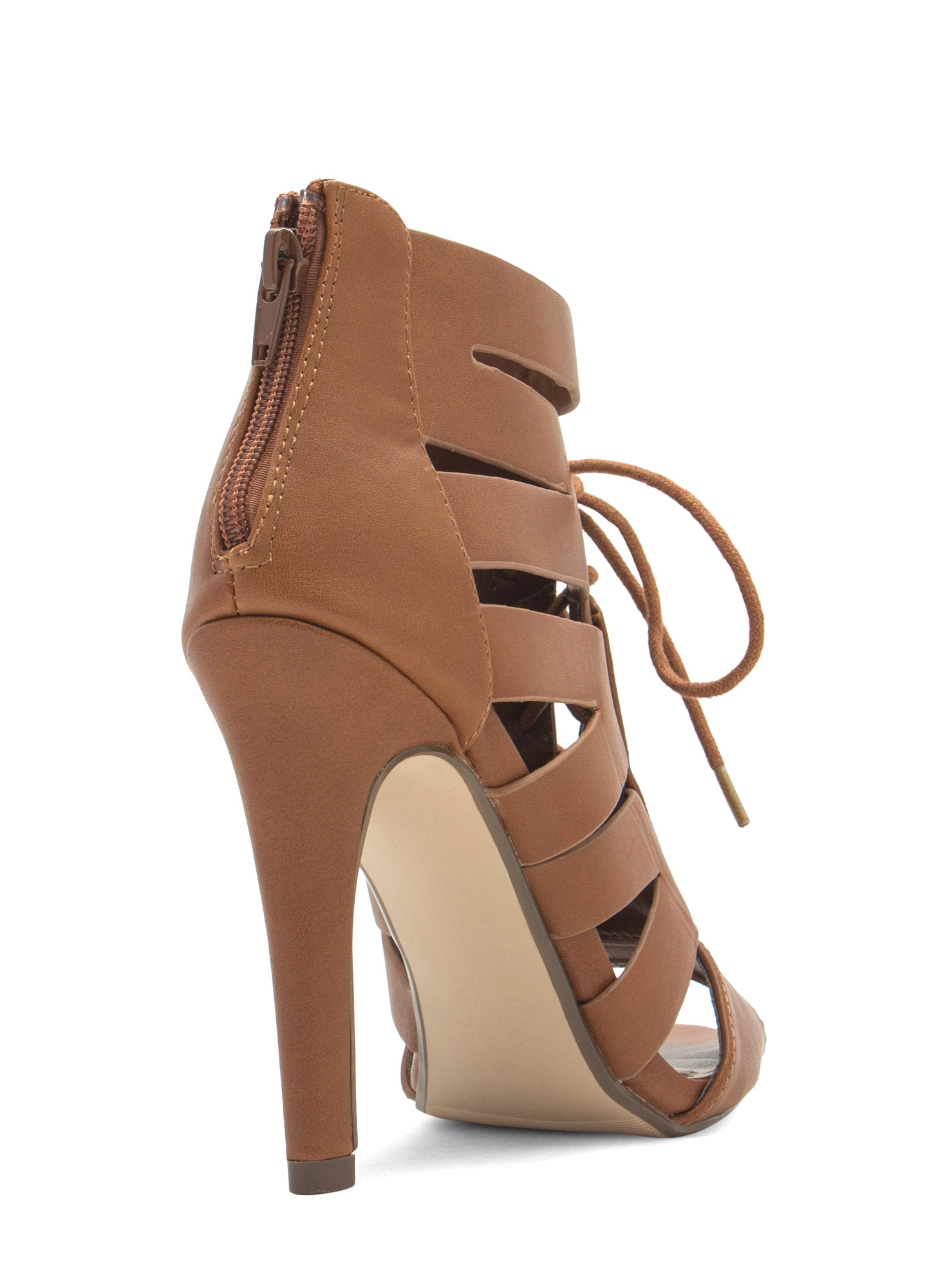 Slit Happens Strappy Lace-Up Heels TAN