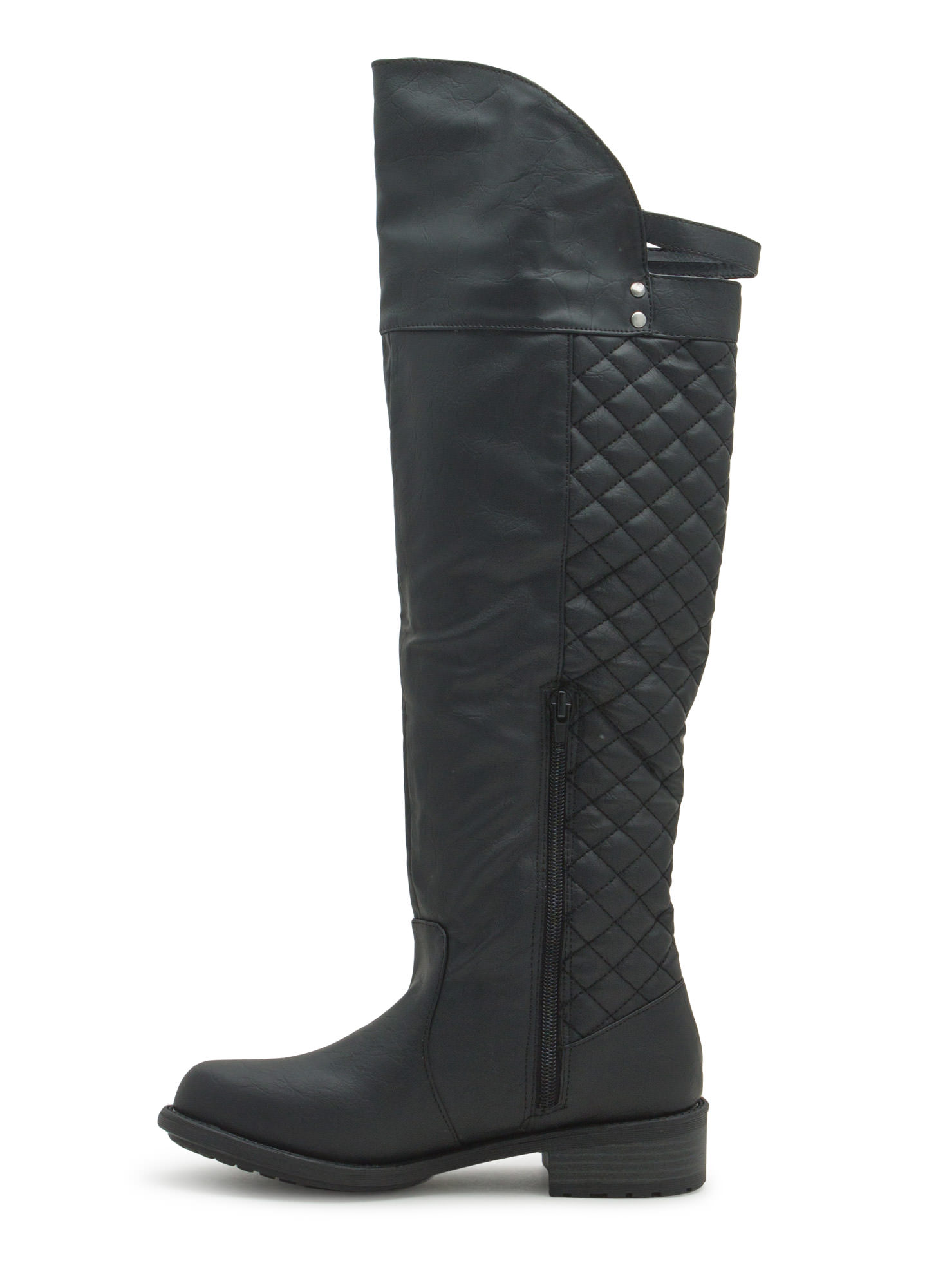 Quilty Pleasure Over-The-Knee Boots BLACK