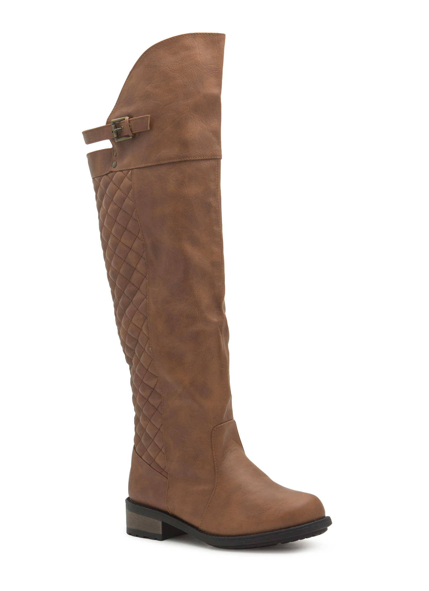 Quilty Pleasure Over-The-Knee Boots COGNAC