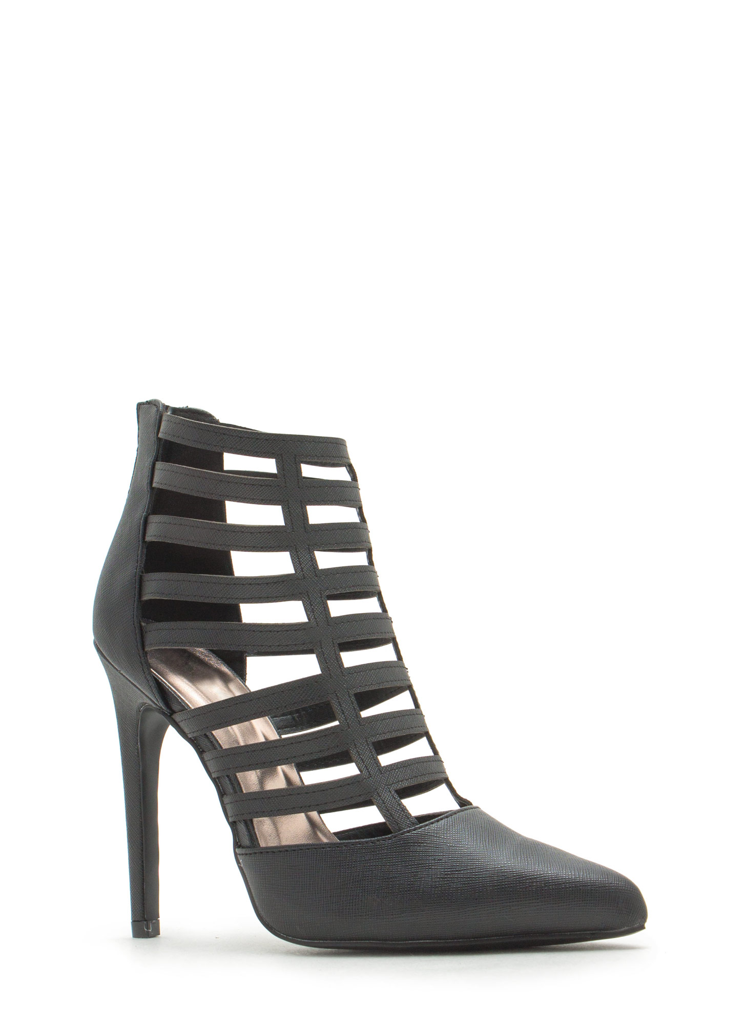 Ladder Of Success Caged Pointy Heels BLACK