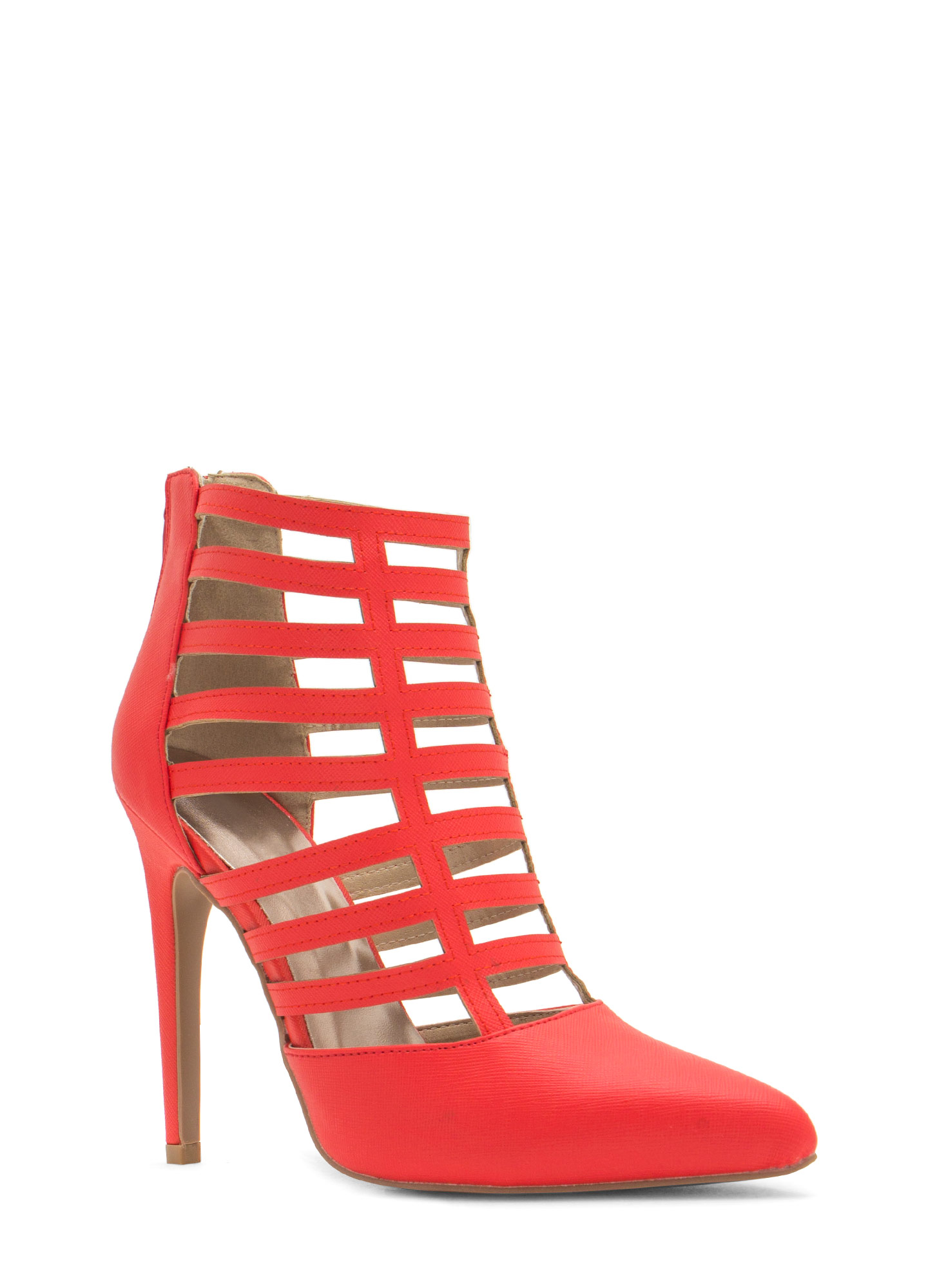 Ladder Of Success Caged Pointy Heels TANGERINE