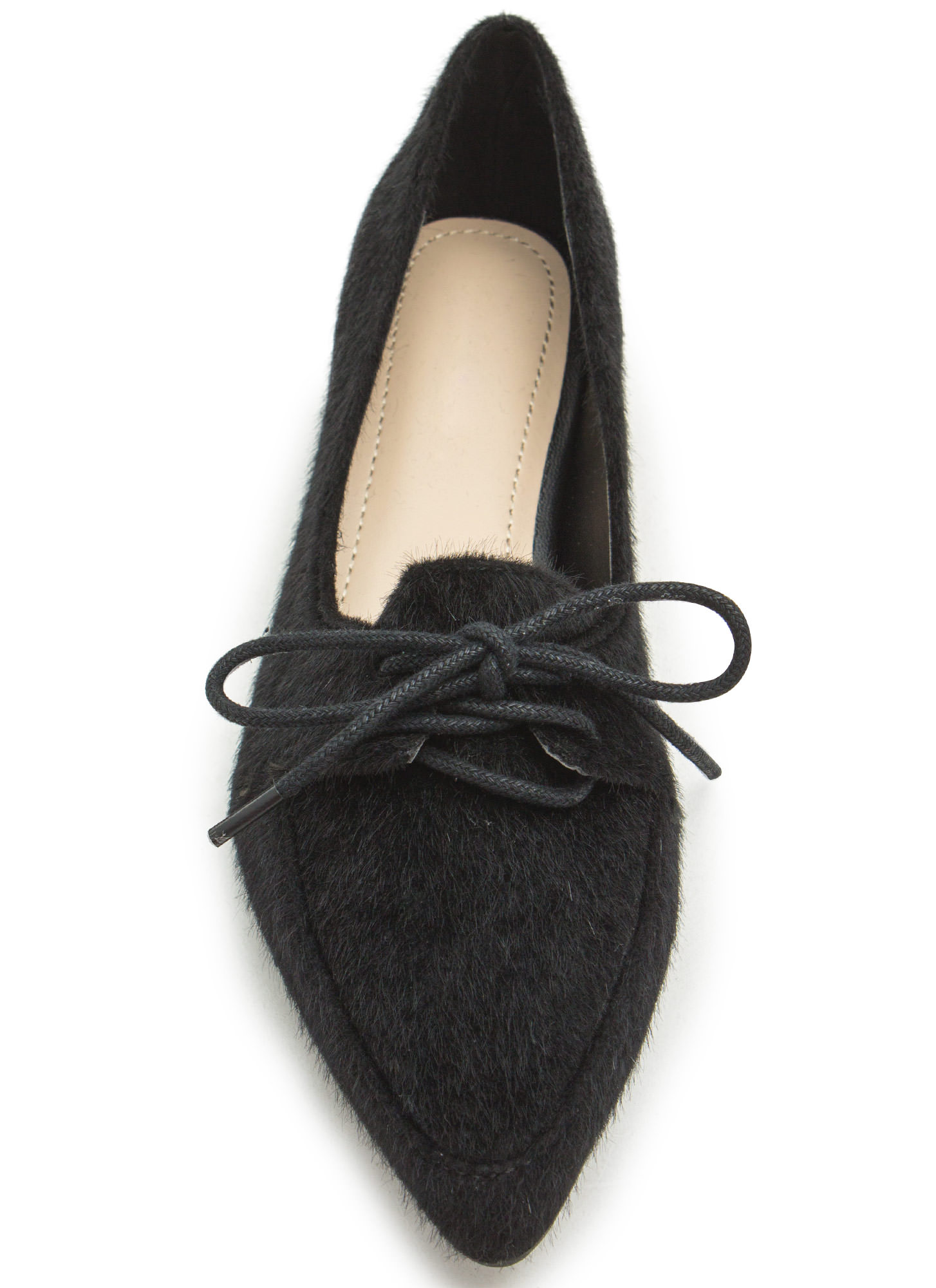 Get To The Point Lace-Up Jazz Flats BLACK