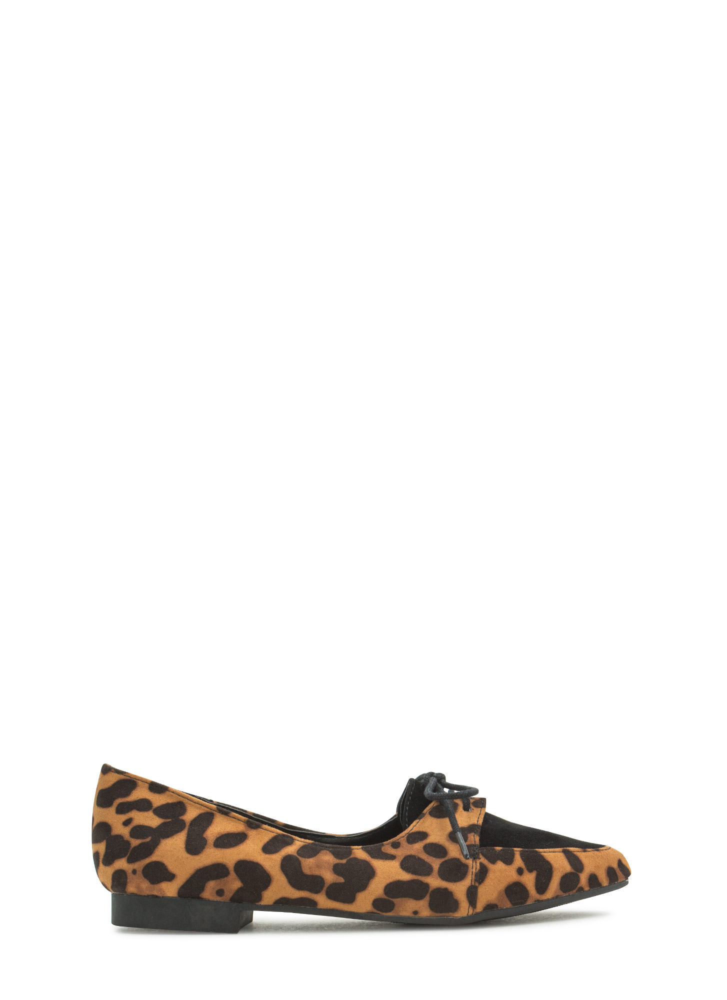 Get To The Point Lace-Up Jazz Flats LEOPARD