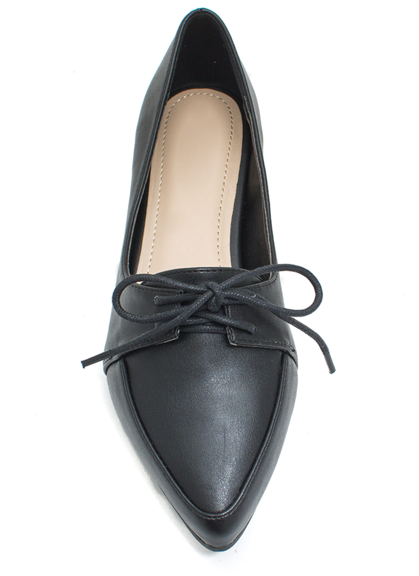 Don't Miss The Point Lace-Up Jazz Flats BLACK