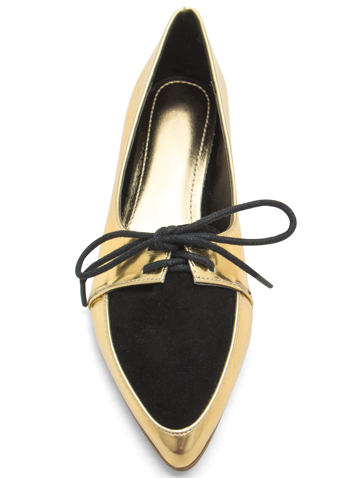 Don't Miss The Point Lace-Up Jazz Flats GOLD