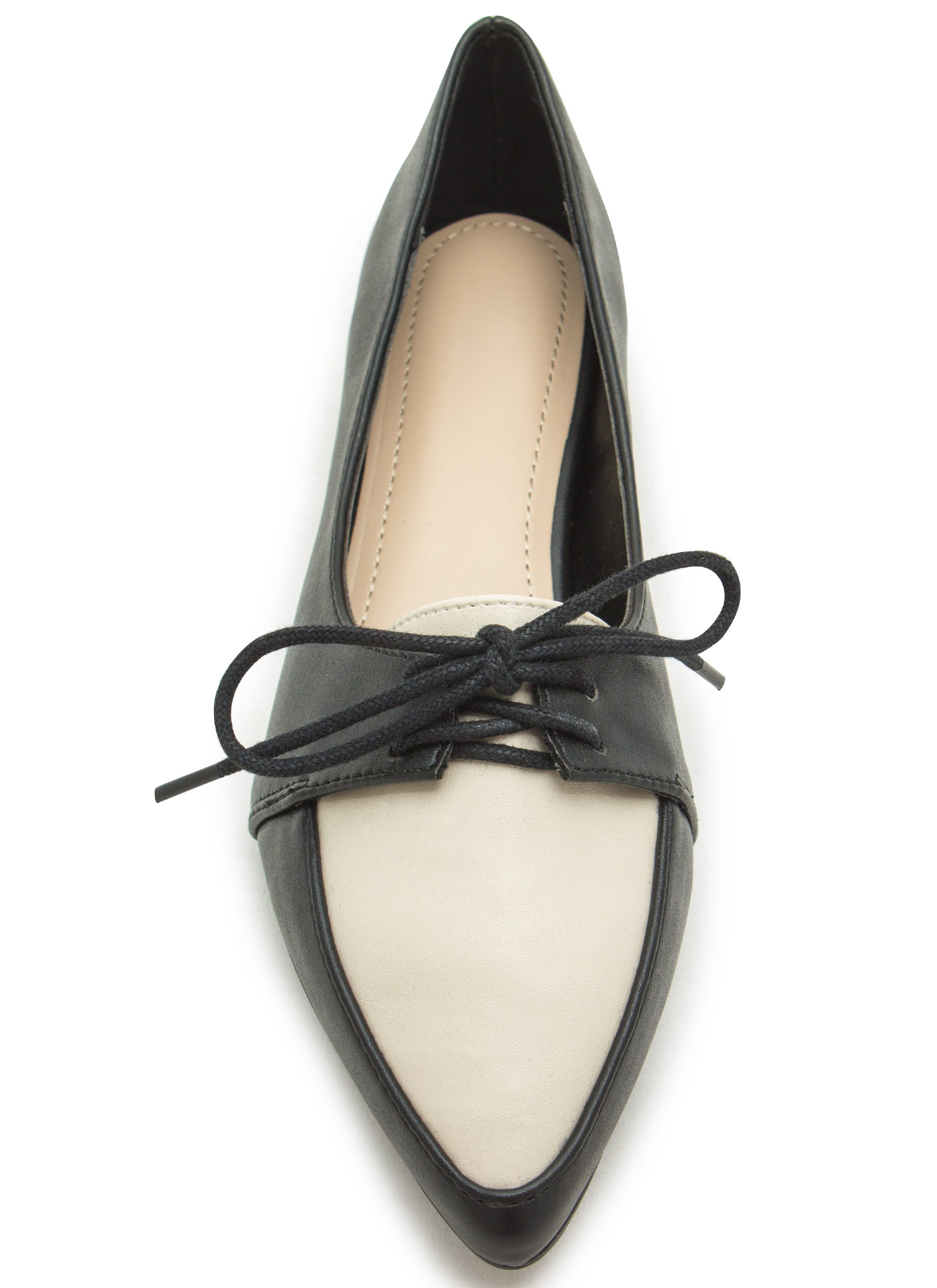 Don't Miss The Point Lace-Up Jazz Flats IVORY