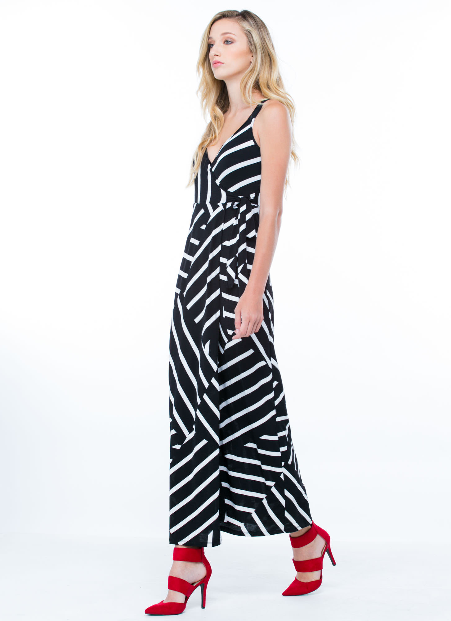 Striped Wrap Maxi Dress BLACKWHITE