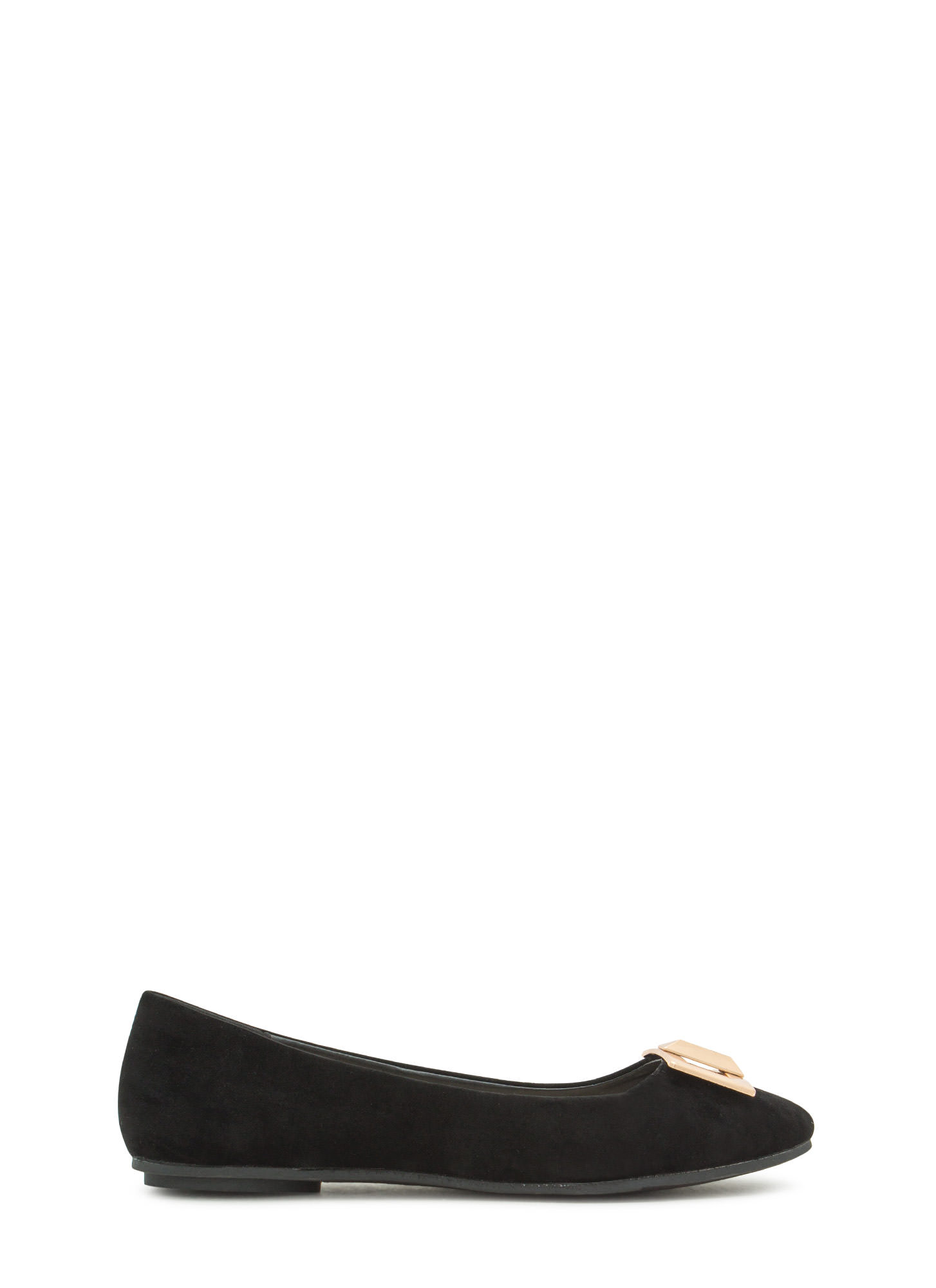 Pick The Lock Faux Suede Flats BLACK