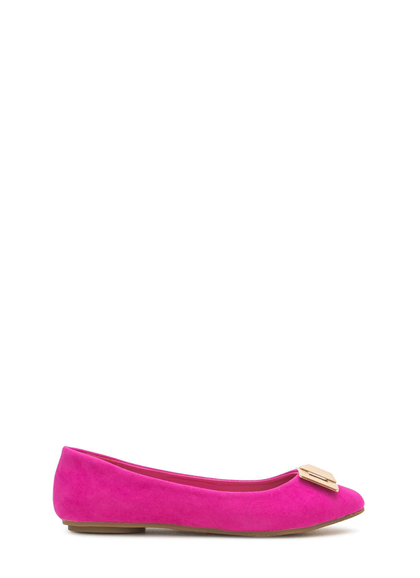 Pick The Lock Faux Suede Flats MAGENTA