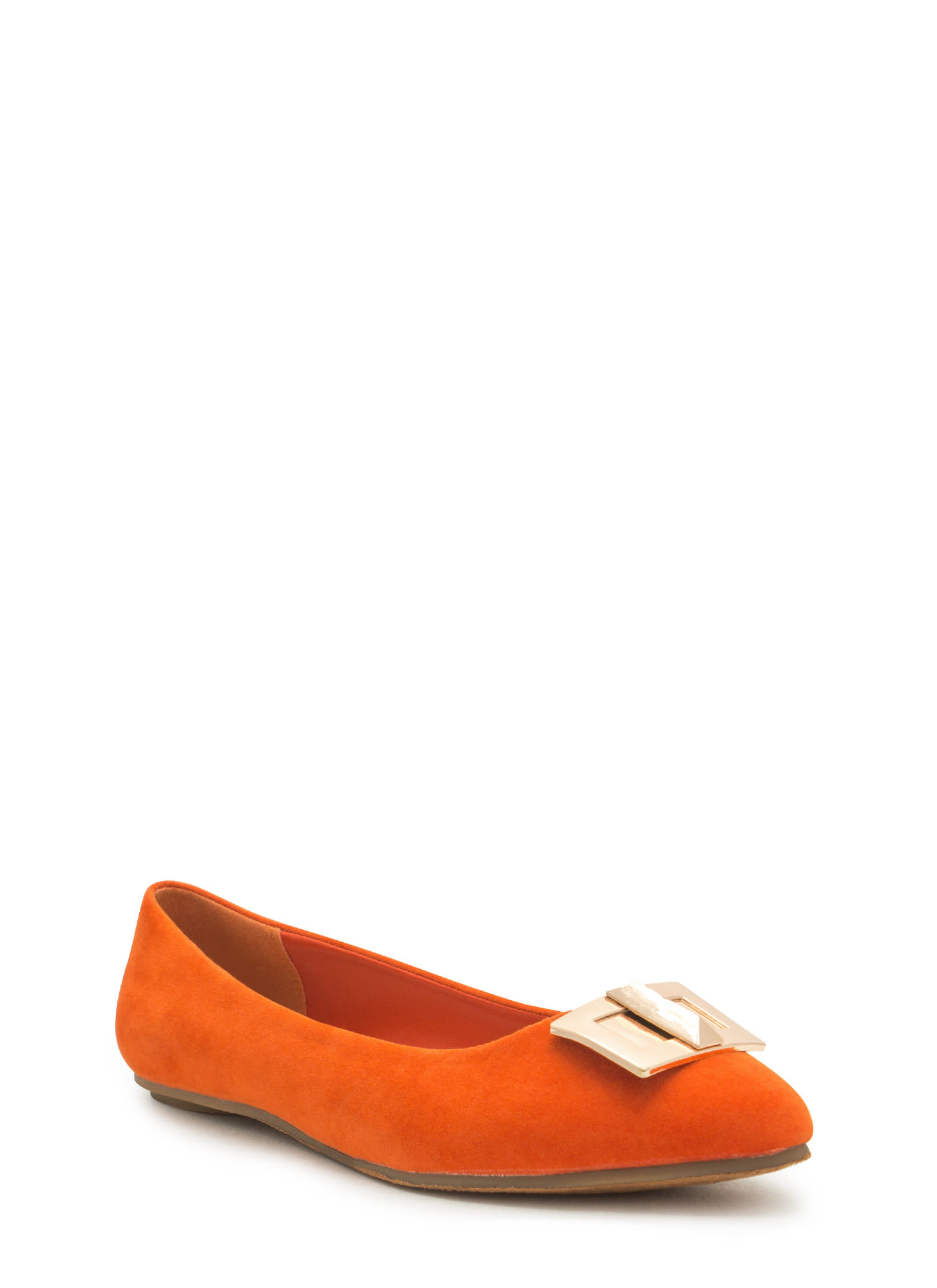 Pick The Lock Faux Suede Flats ORANGE