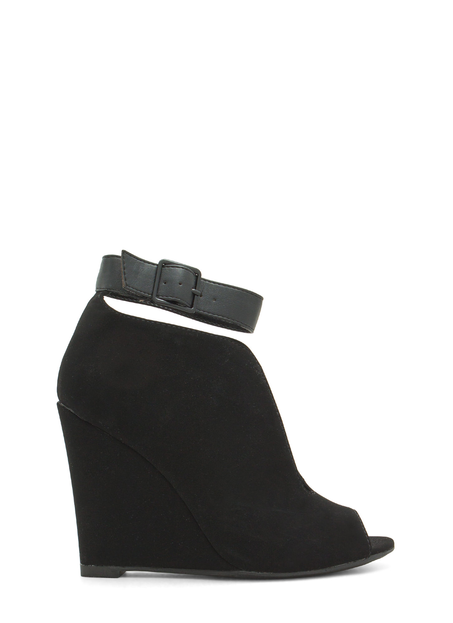 Top Notch Ankle Strap Bootie Wedges BLACK