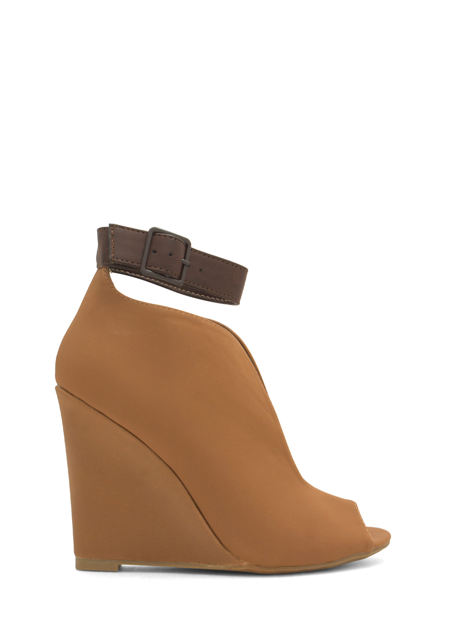 Top Notch Ankle Strap Bootie Wedges CHESTNUT