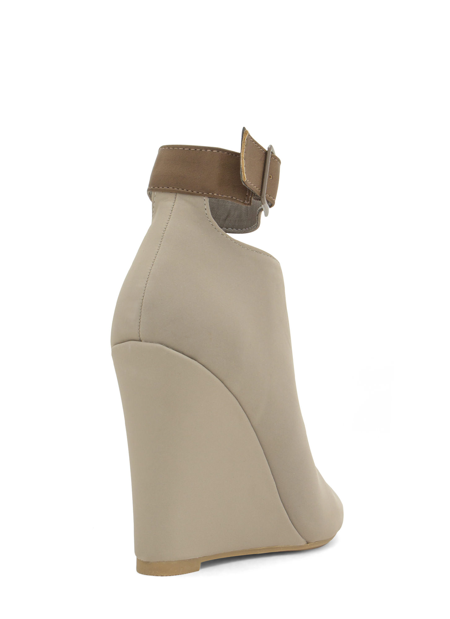 Top Notch Ankle Strap Bootie Wedges STONE