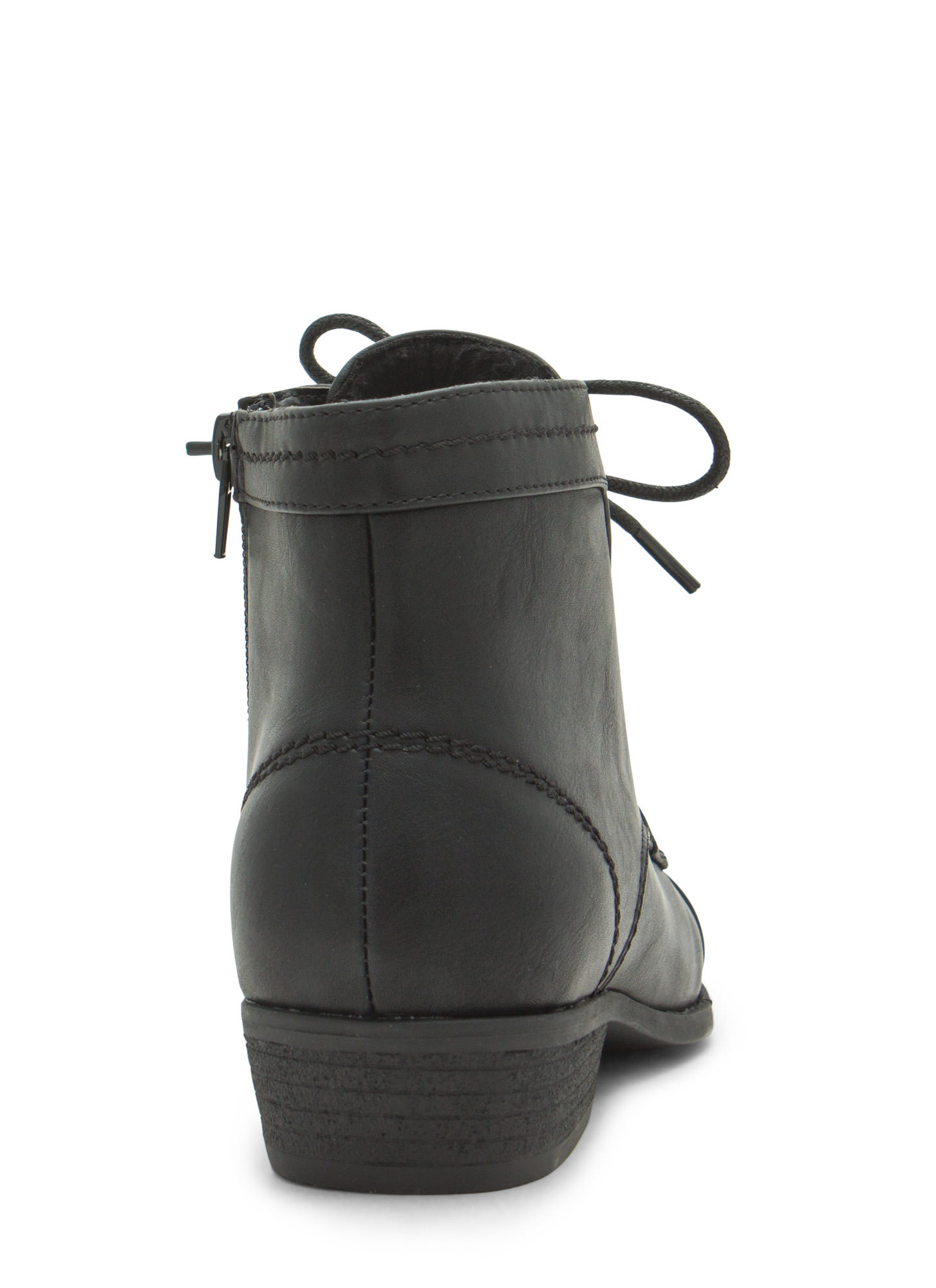Voyager Faux Leather Lace-Up Booties BLACK