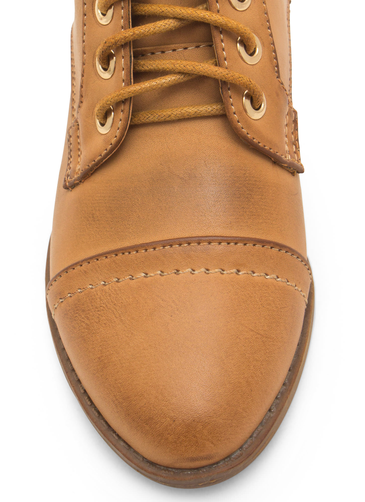 Voyager Faux Leather Lace-Up Booties TAN