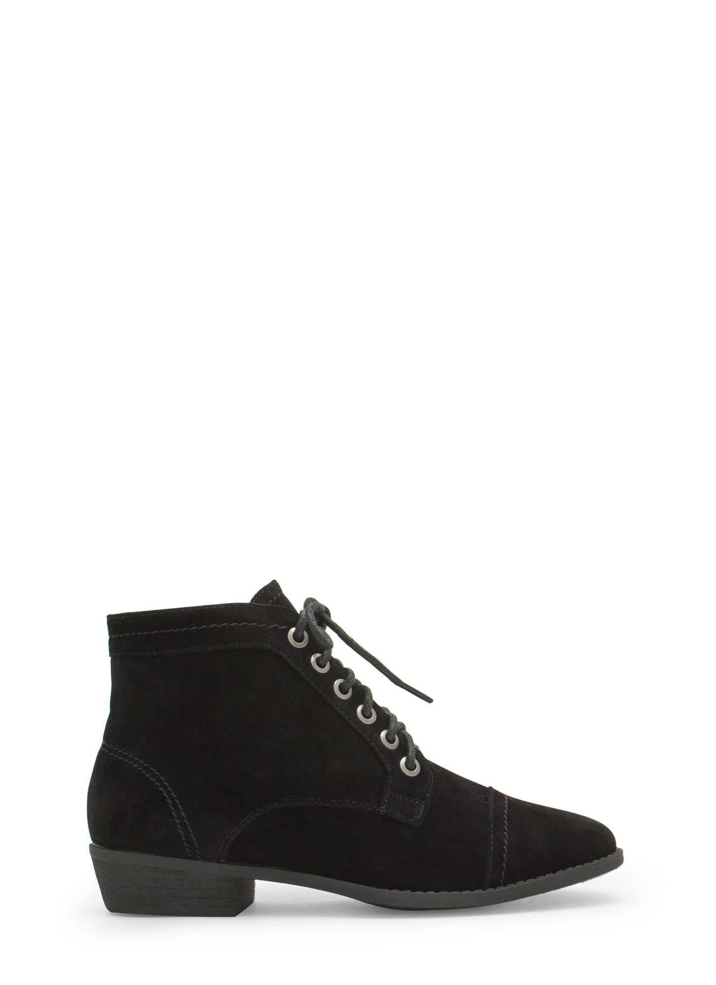 Voyager Velvet Lace-Up Booties BLACK