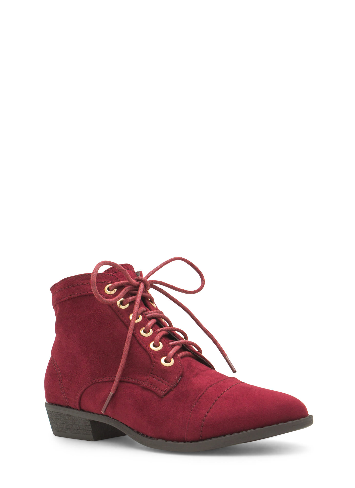 Voyager Velvet Lace-Up Booties OXBLOOD