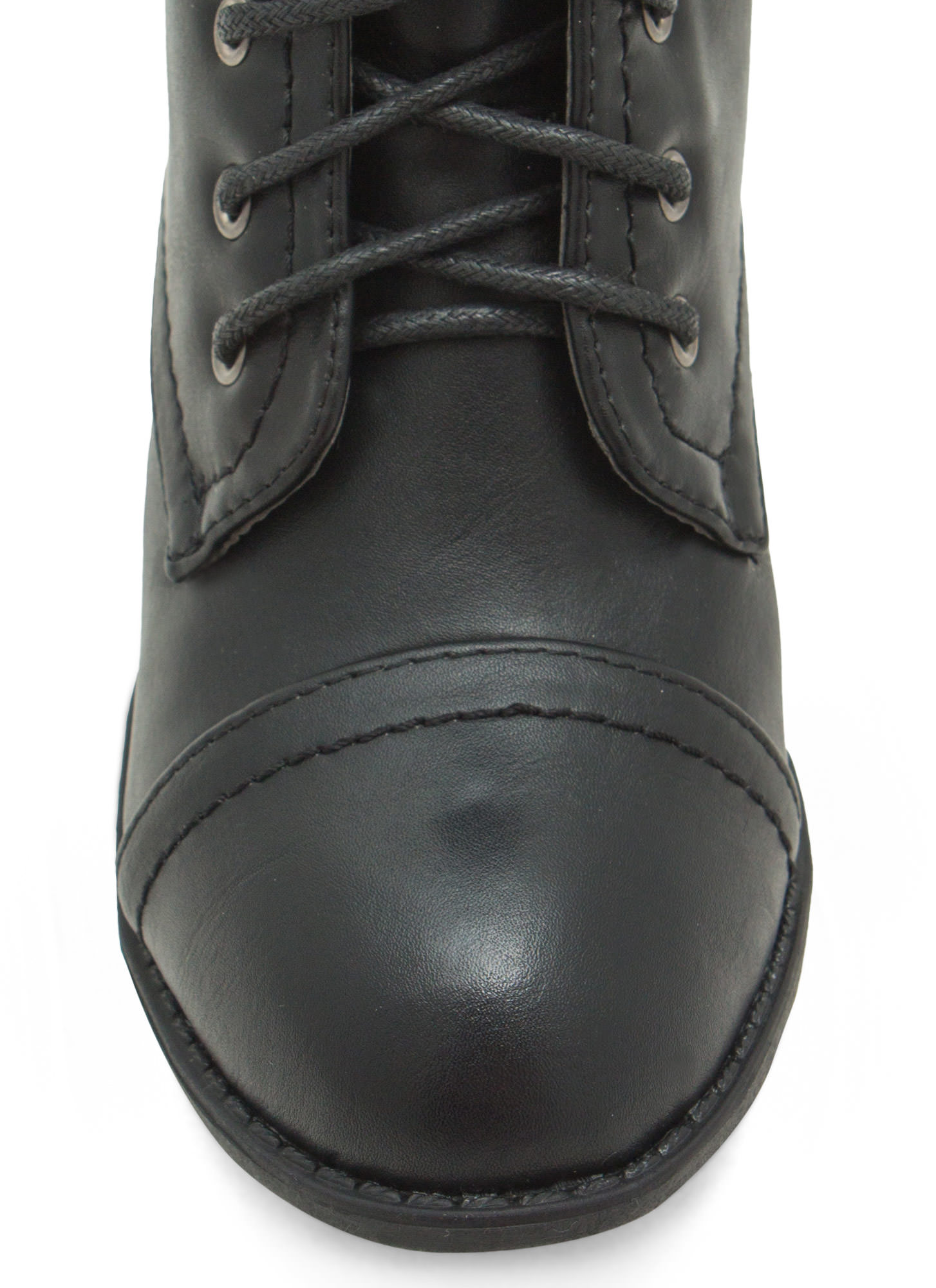 On Edgy Faux Leather Lace-Up Booties BLACK