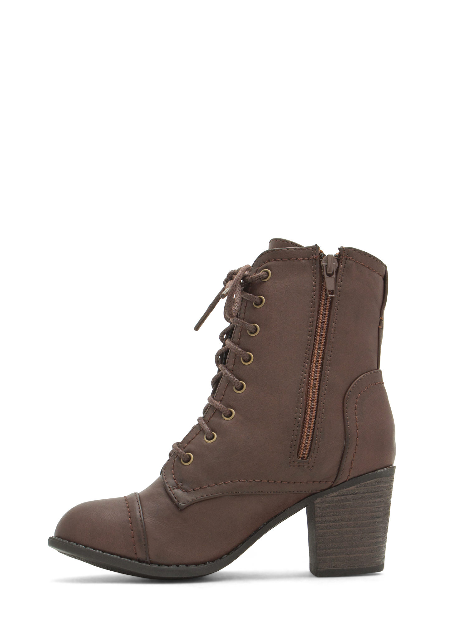 On Edgy Faux Leather Lace-Up Booties BROWN