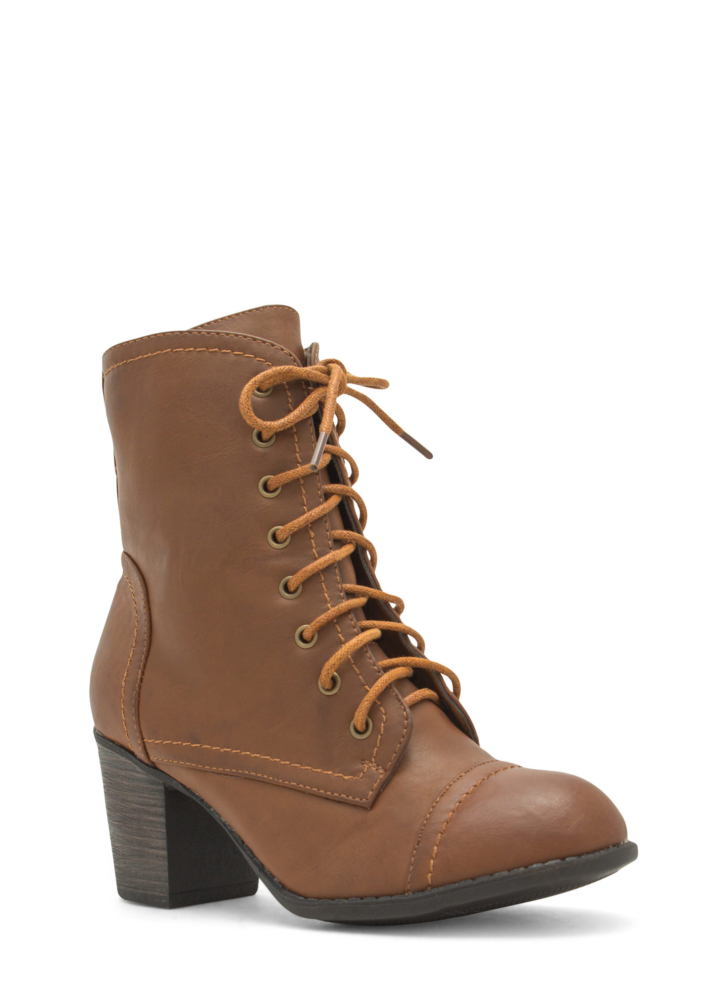 On Edgy Faux Leather Lace-Up Booties CHESTNUT