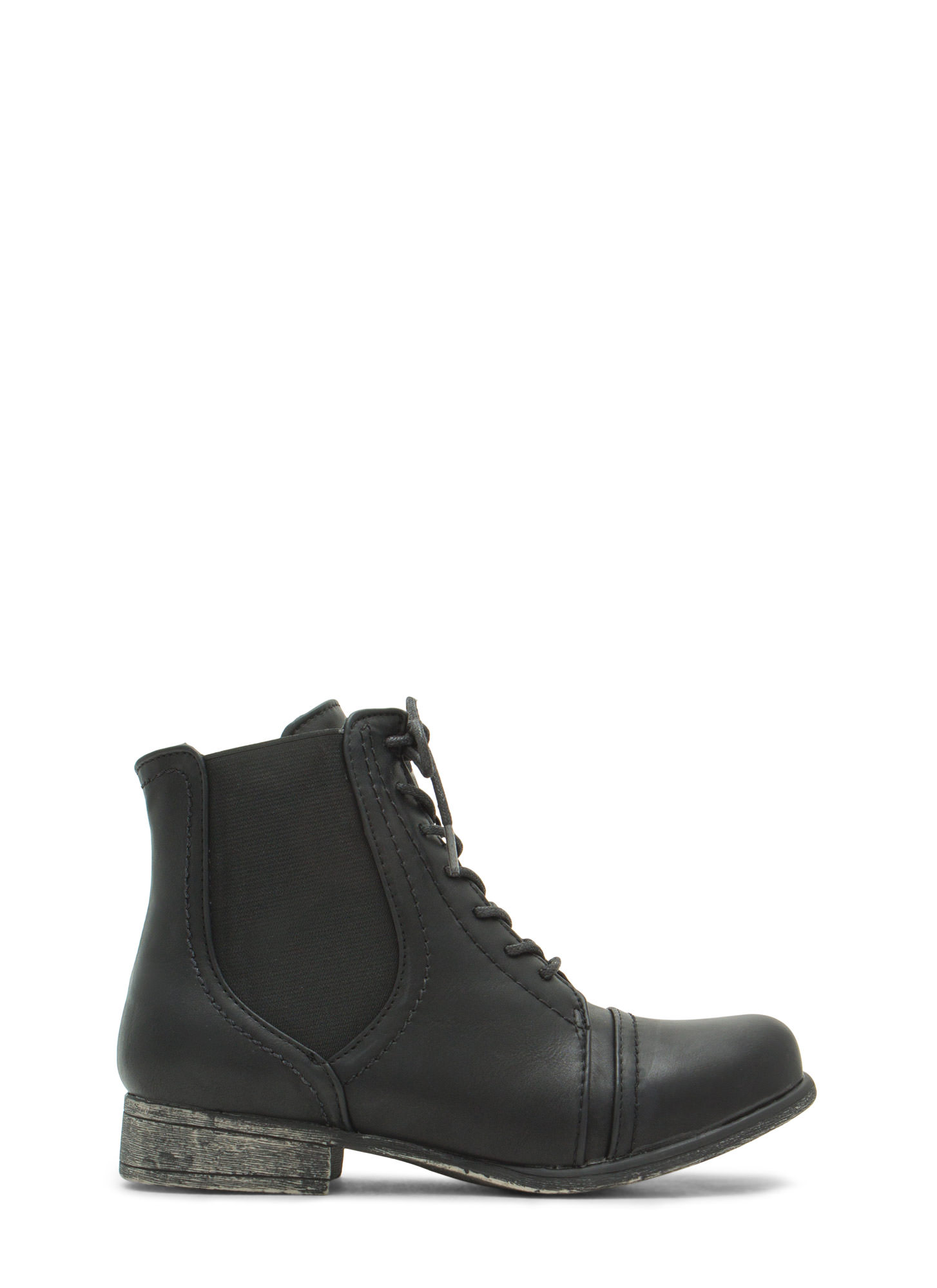 Slip To It Elasticized Lace-Up  Booties BLACK