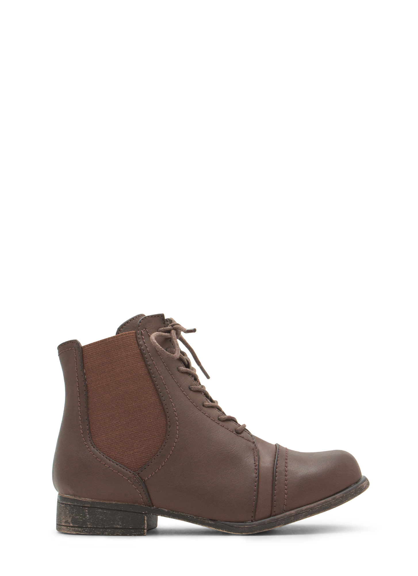 Slip To It Elasticized Lace-Up  Booties BROWN
