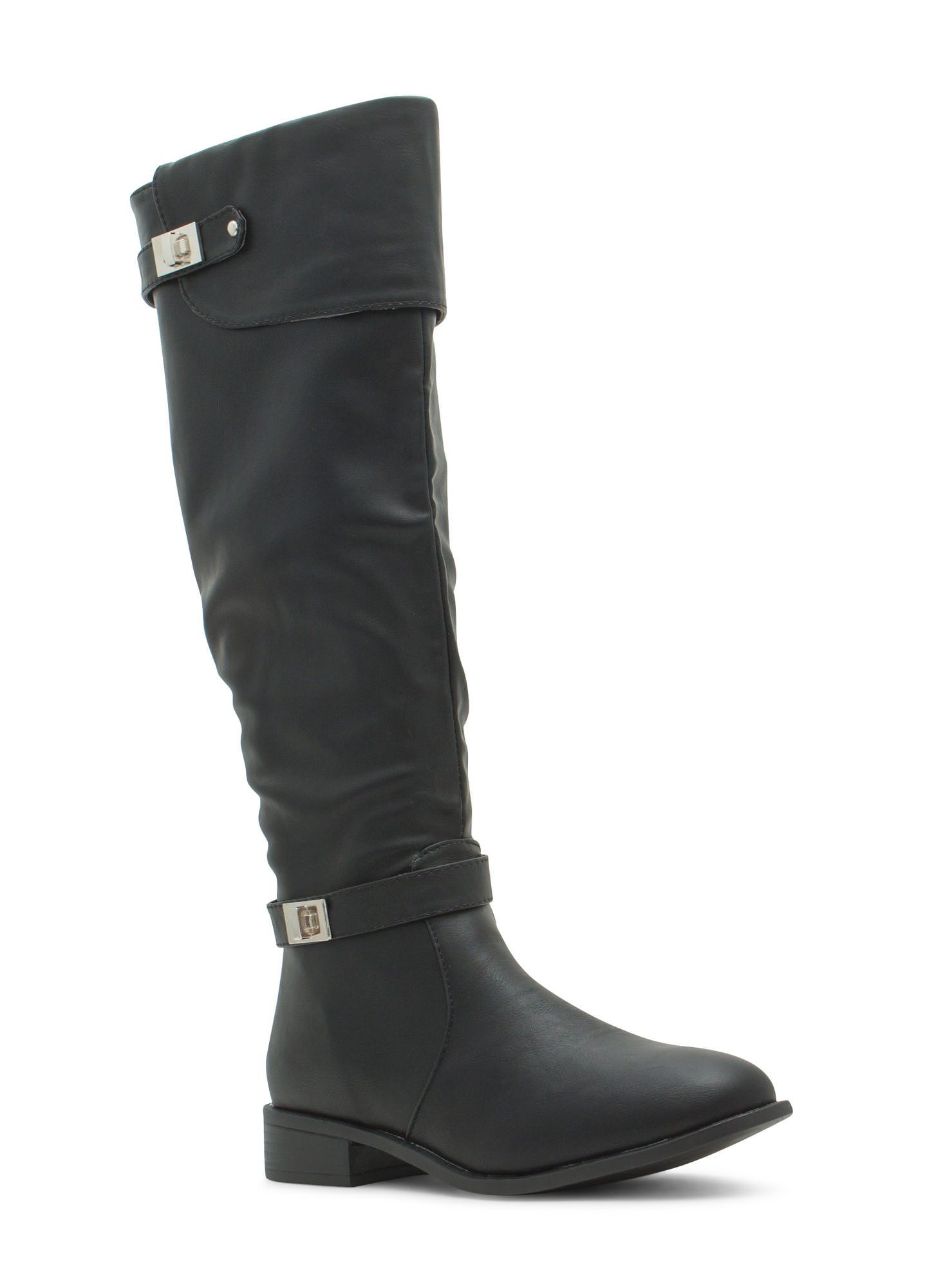 Double Twist Lock Cuffed Boots BLACK