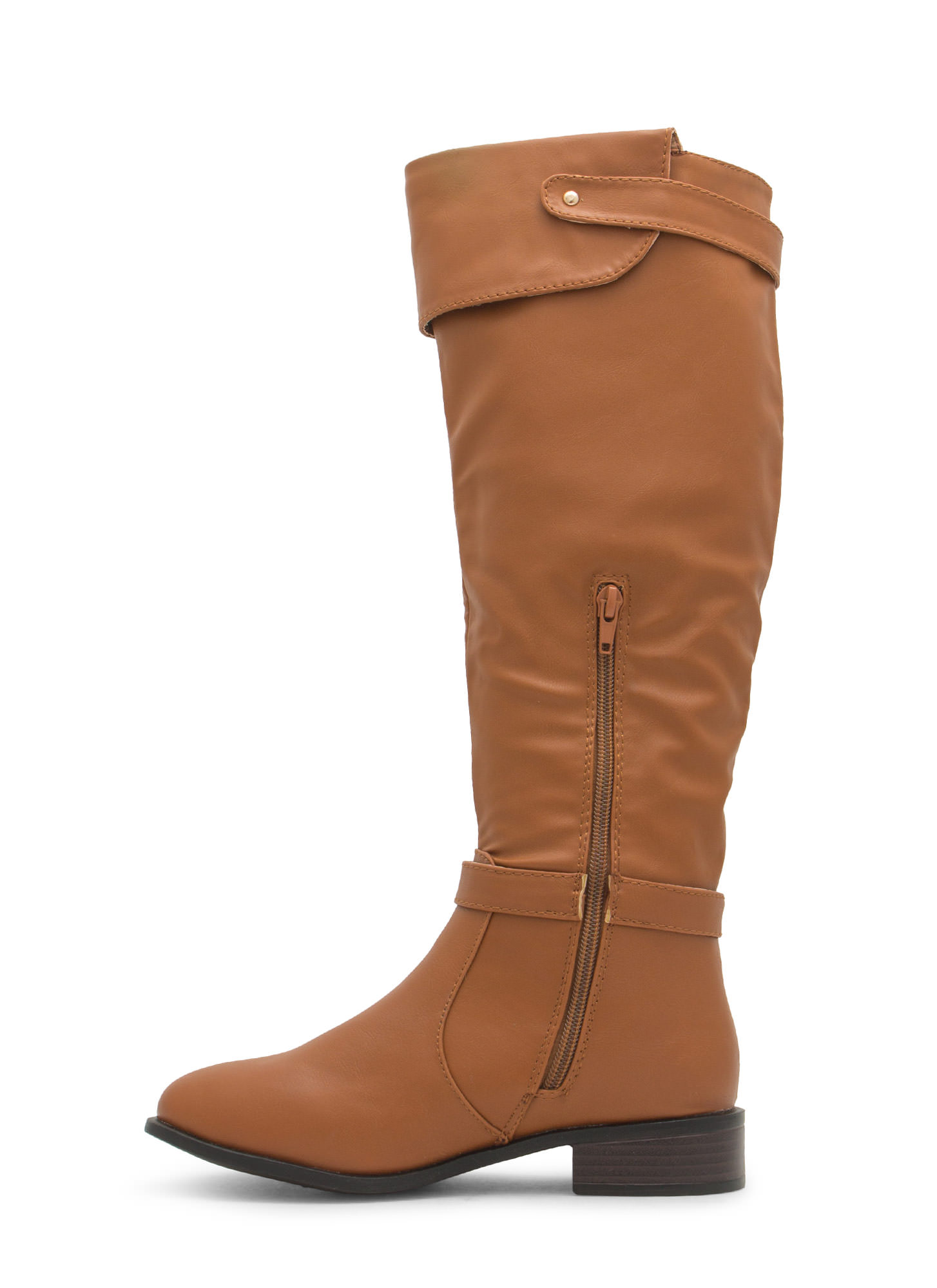 Double Twist Lock Cuffed Boots CHESTNUT