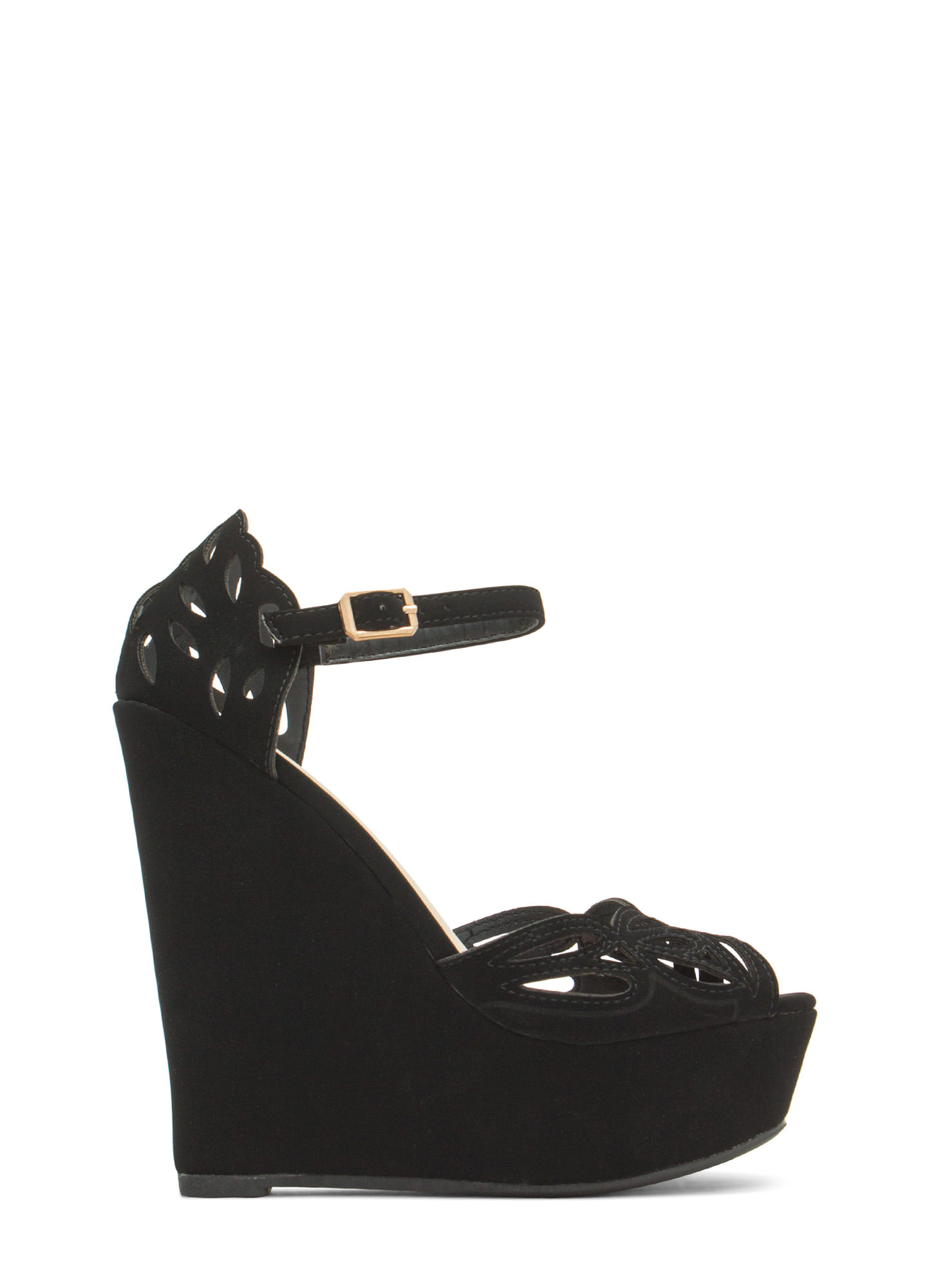 Butterfly Wings Cut-Out Wedges BLACK