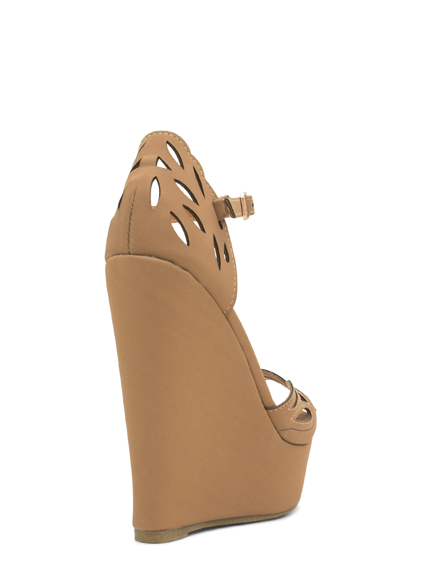 Butterfly Wings Cut-Out Wedges TAN