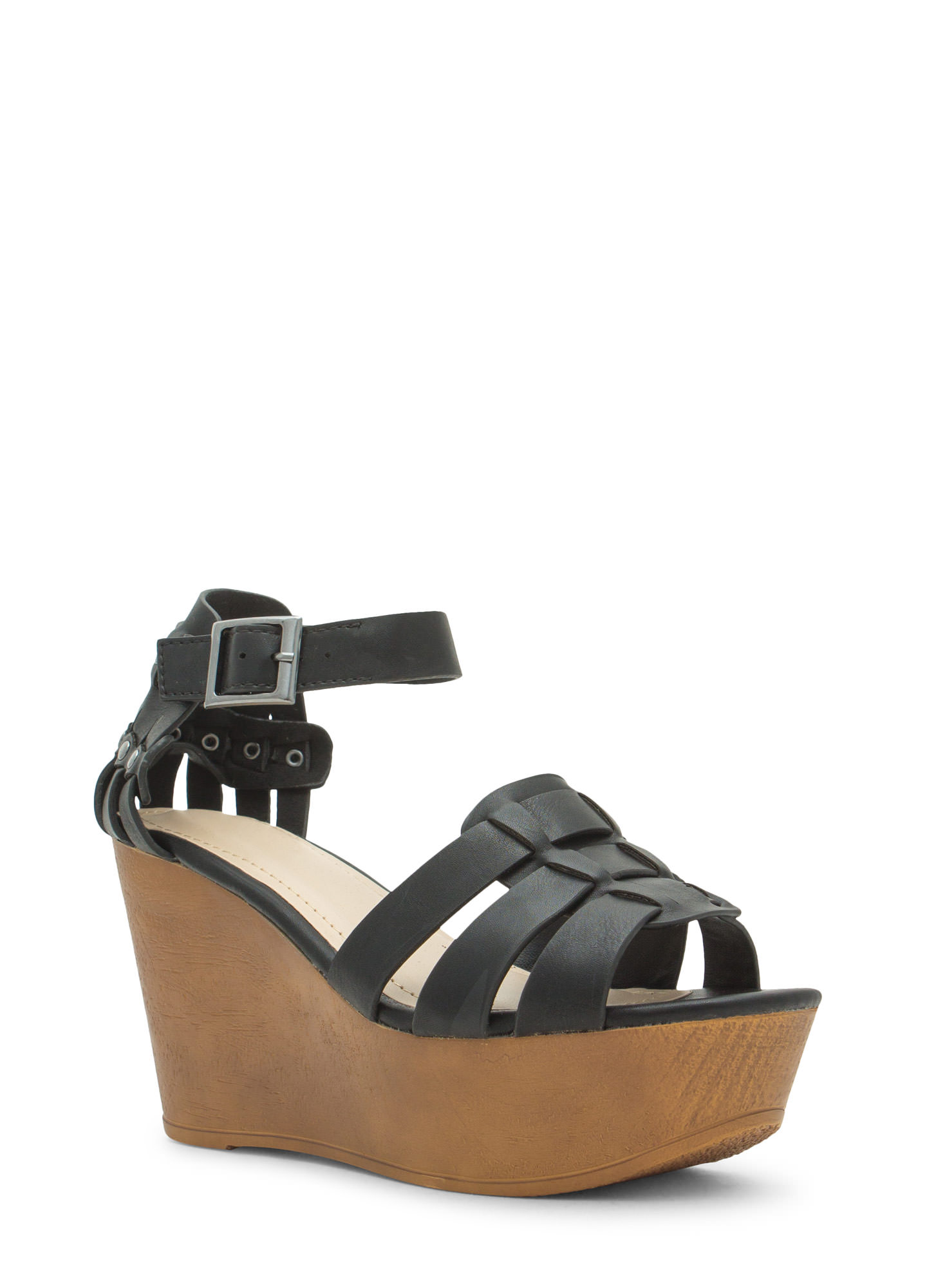 Tri-Strap Caged Platform Wedges BLACK