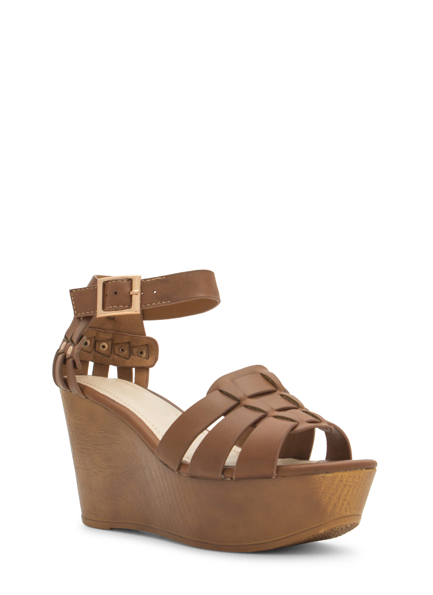 Tri-Strap Caged Platform Wedges CHESTNUT