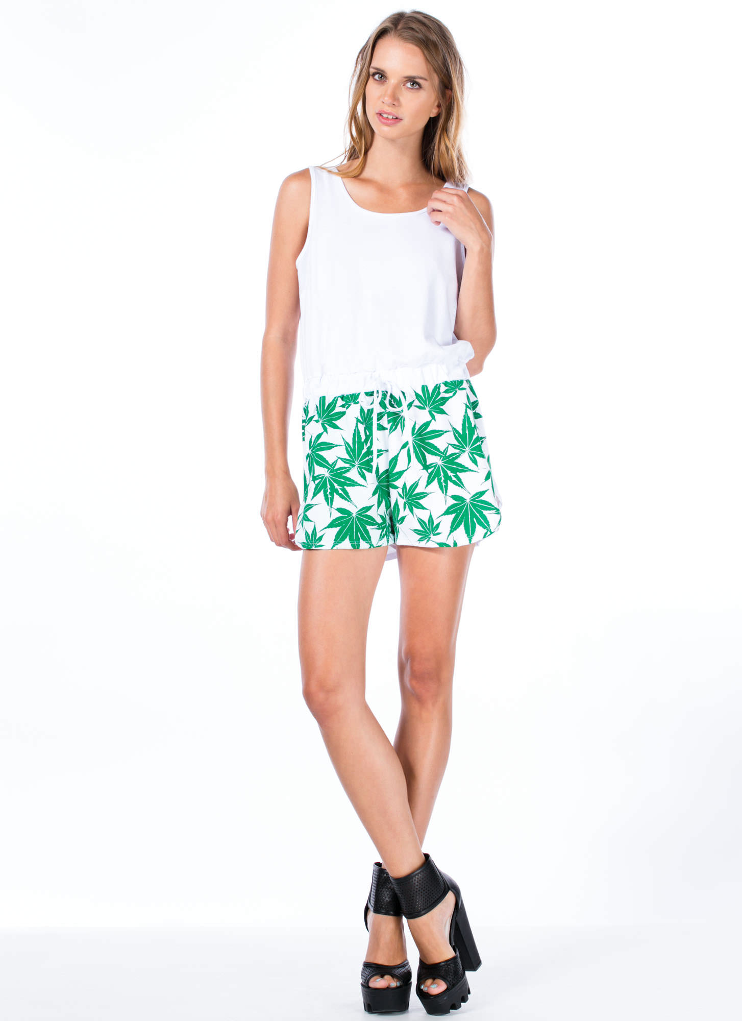 Take It Or Leaf It Sweatshirt Romper WHITE