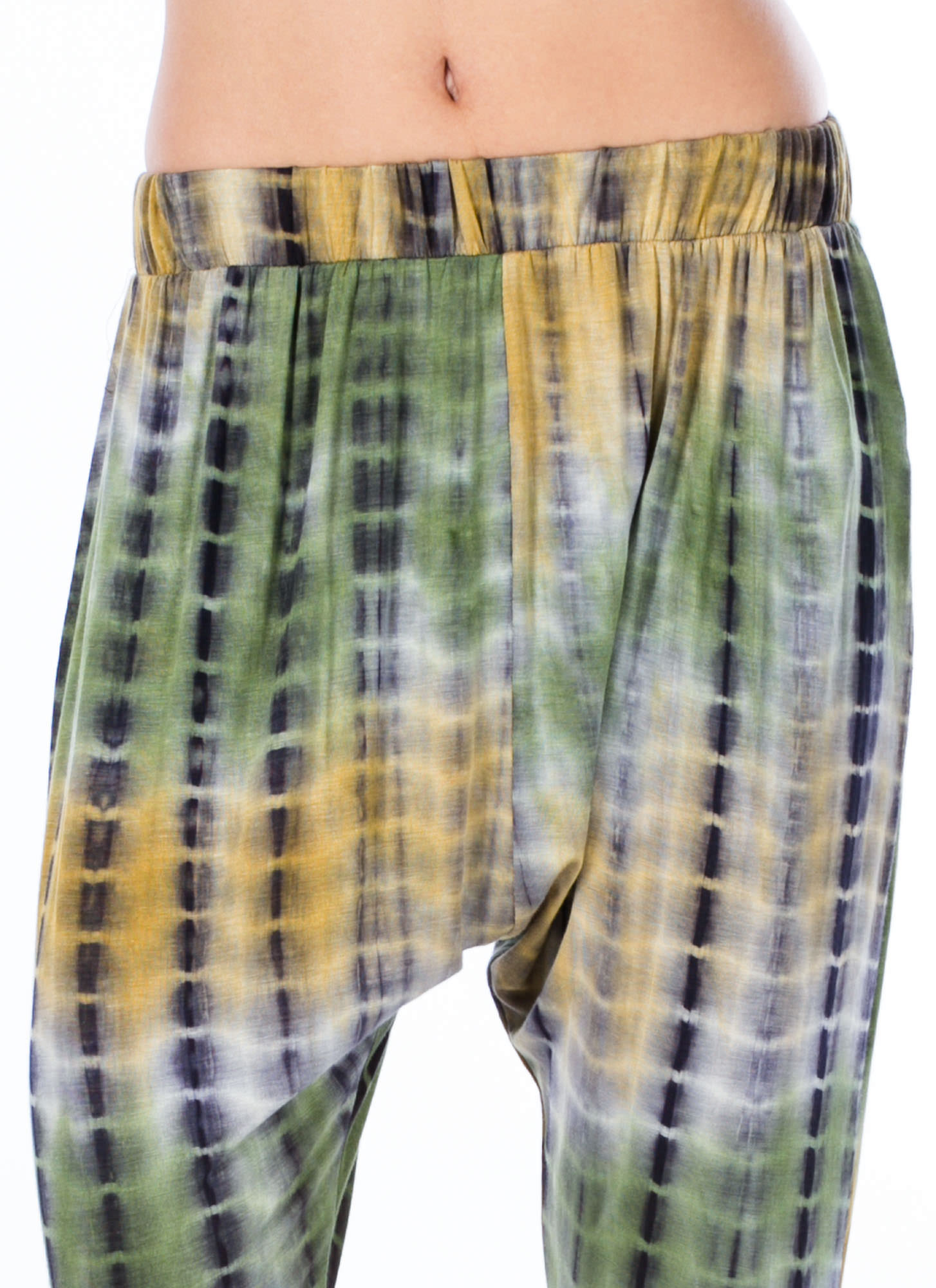 Grid Locked Tie-Dye Harem Pants GREEN