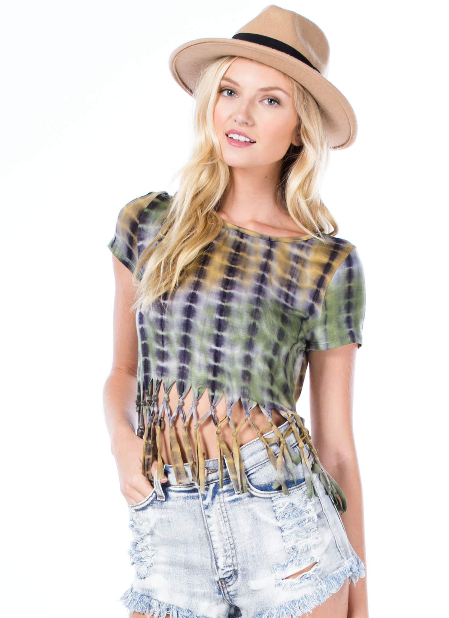 Grid Locked Knotted Fringe Tie-Dye Top GREEN
