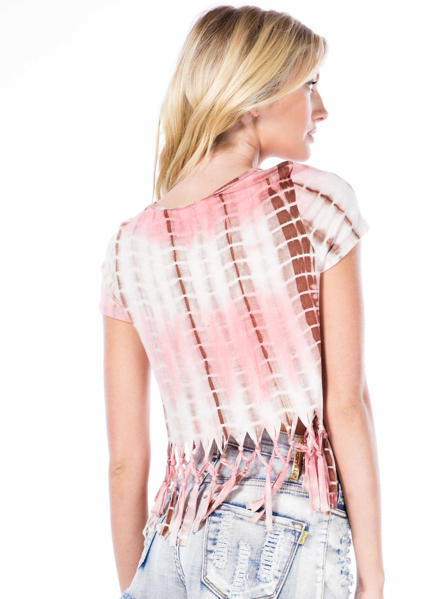 Grid Locked Knotted Fringe Tie-Dye Top PINK