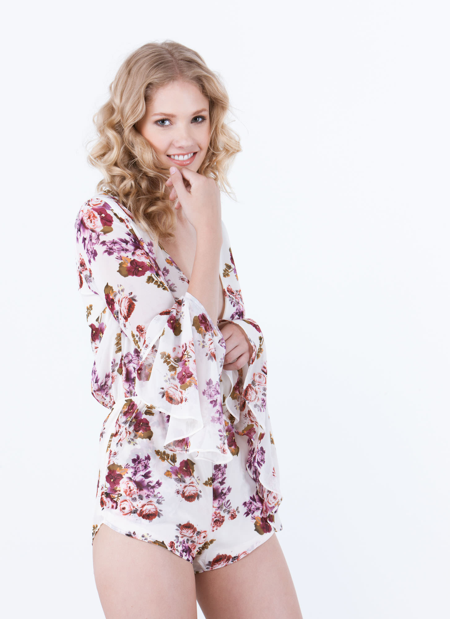 Pretty In Petals Bell Sleeve Romper IVORY