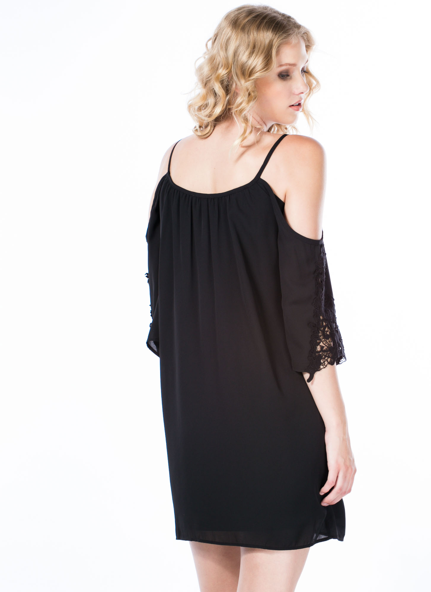 Hot 'N Cold Shoulder Shift Dress BLACK