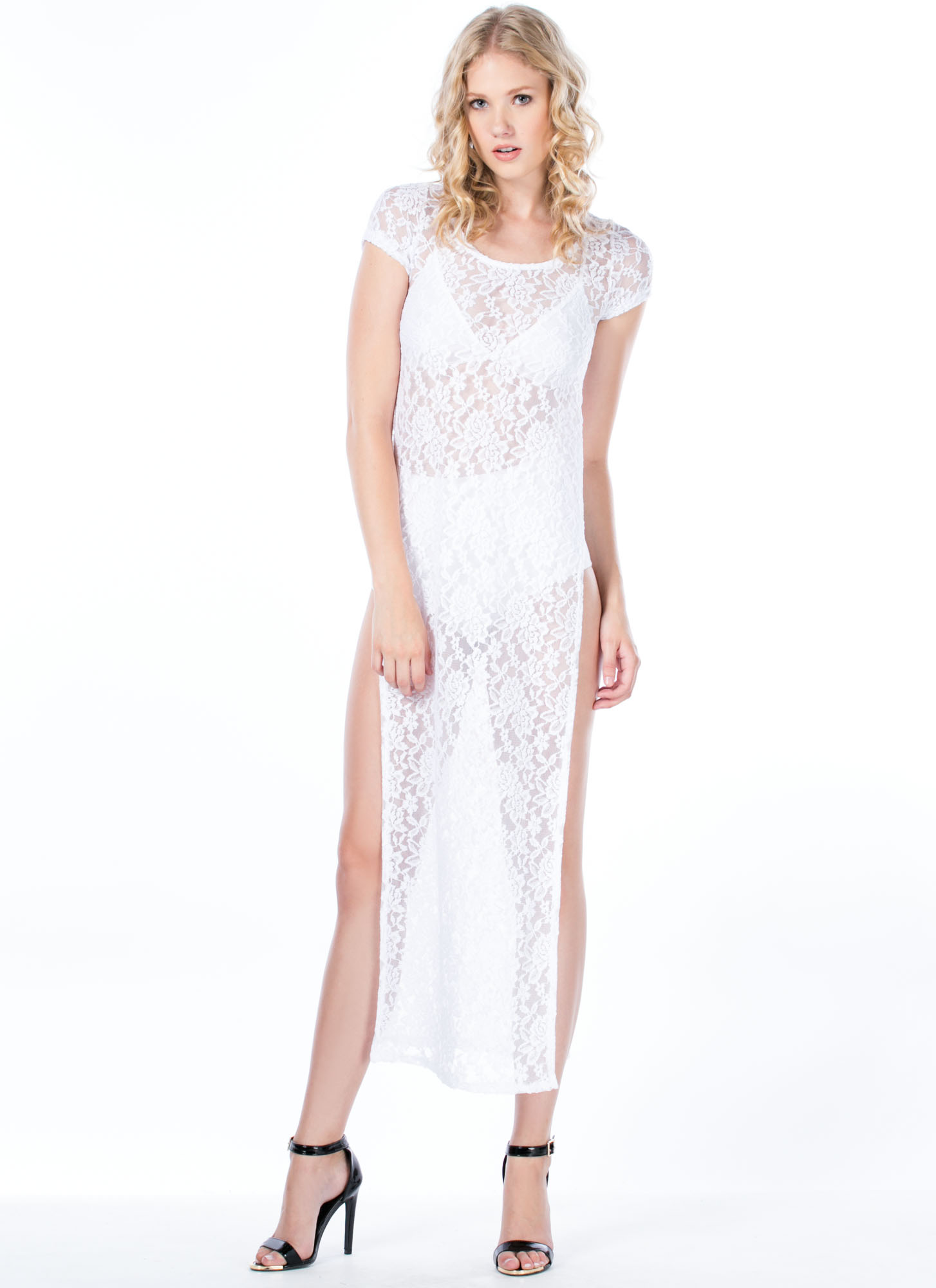 Lace To The Finish Double Slit Maxi WHITE (Final Sale)