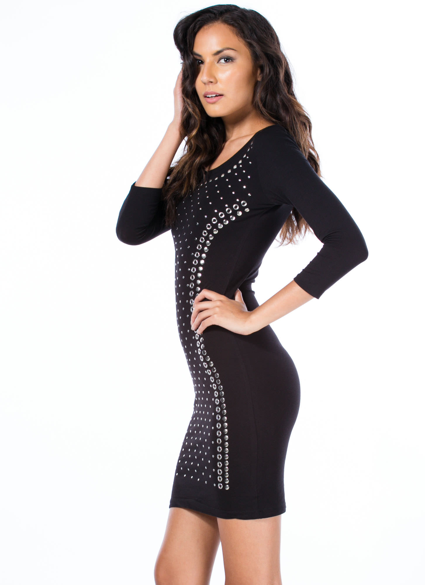 Studded Masterpiece Bodycon Dress BLACK