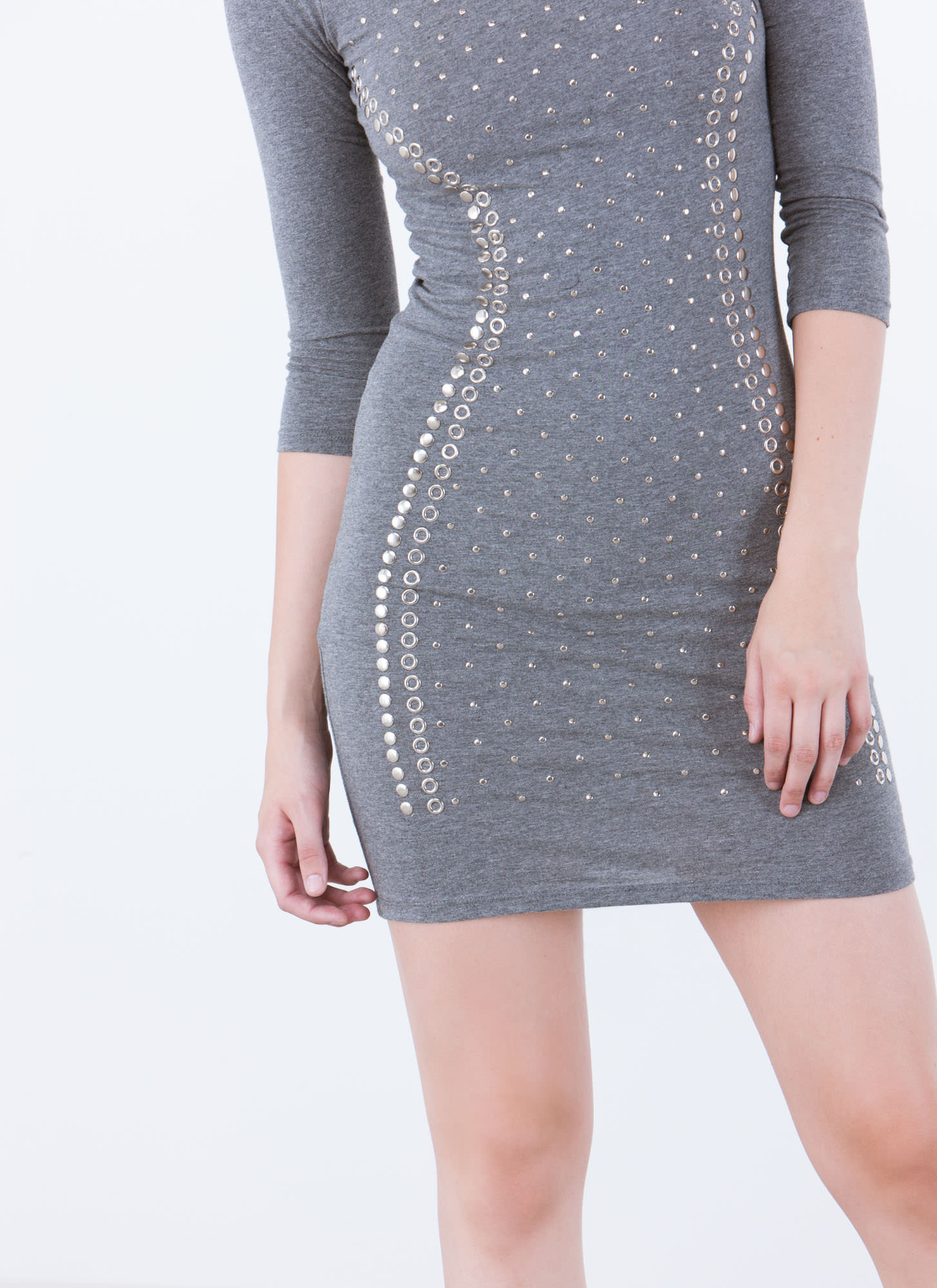 Studded Masterpiece Bodycon Dress GREY